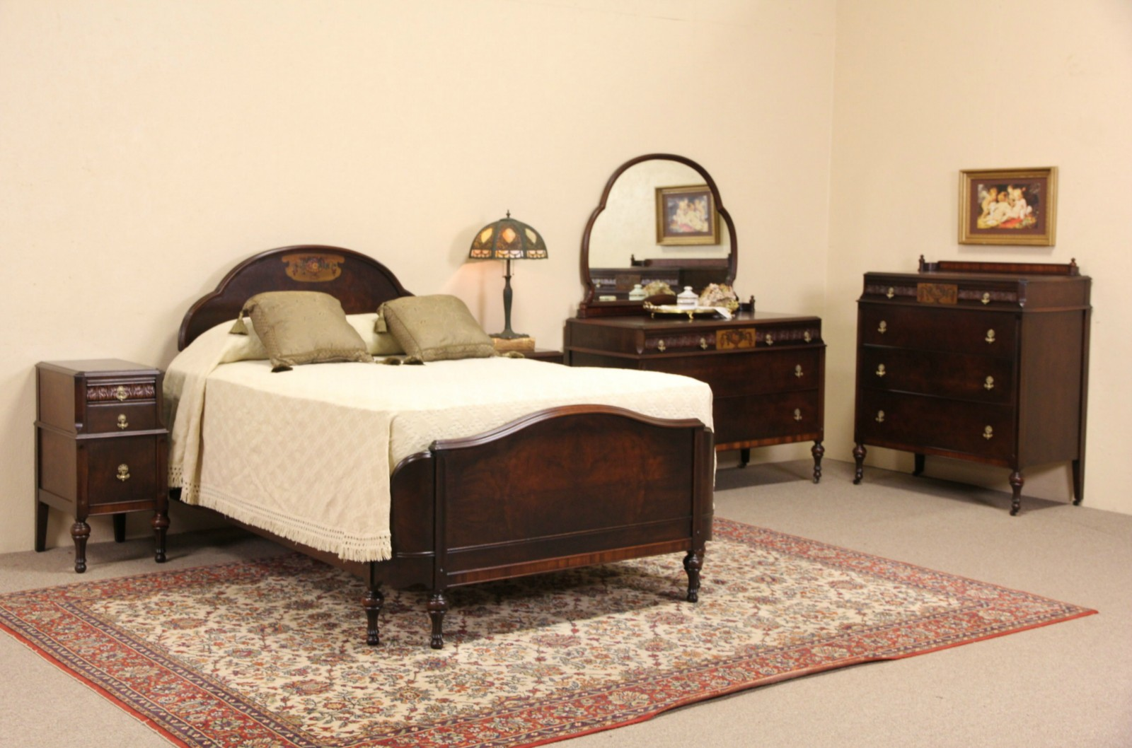 SOLD Hand Painted & Walnut 1920 Antique 5 Pc Bedroom Set Full Size Be