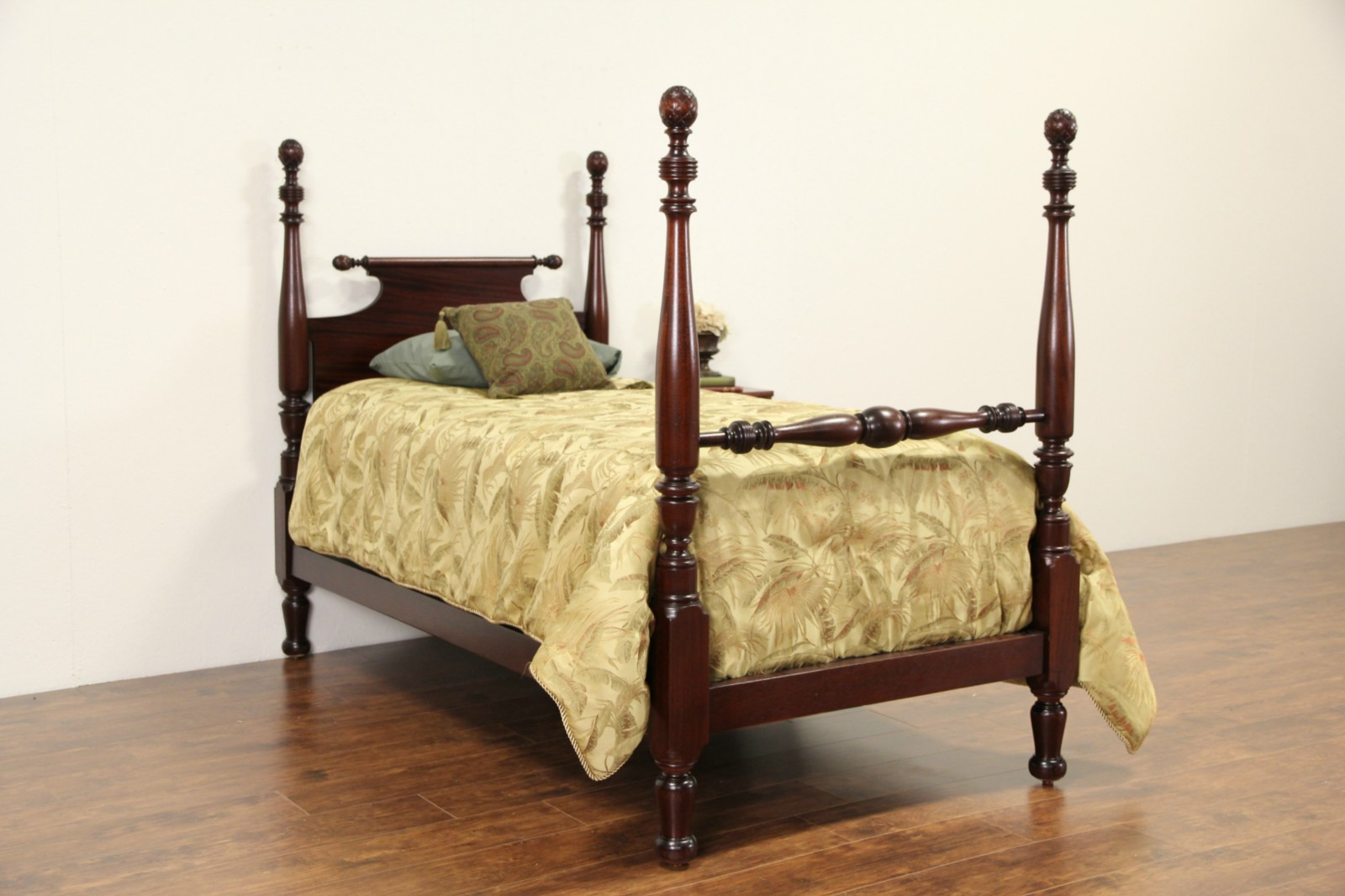 Sold Mahogany 1910 Antique Pineapple Single Poster Bed