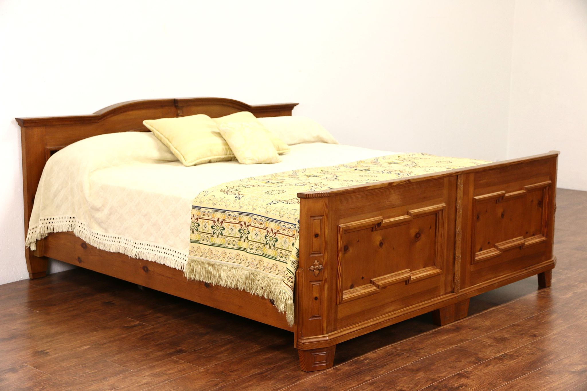 97680908e772 SOLD - Country Pine German Vintage King Size Bed - Harp Gallery