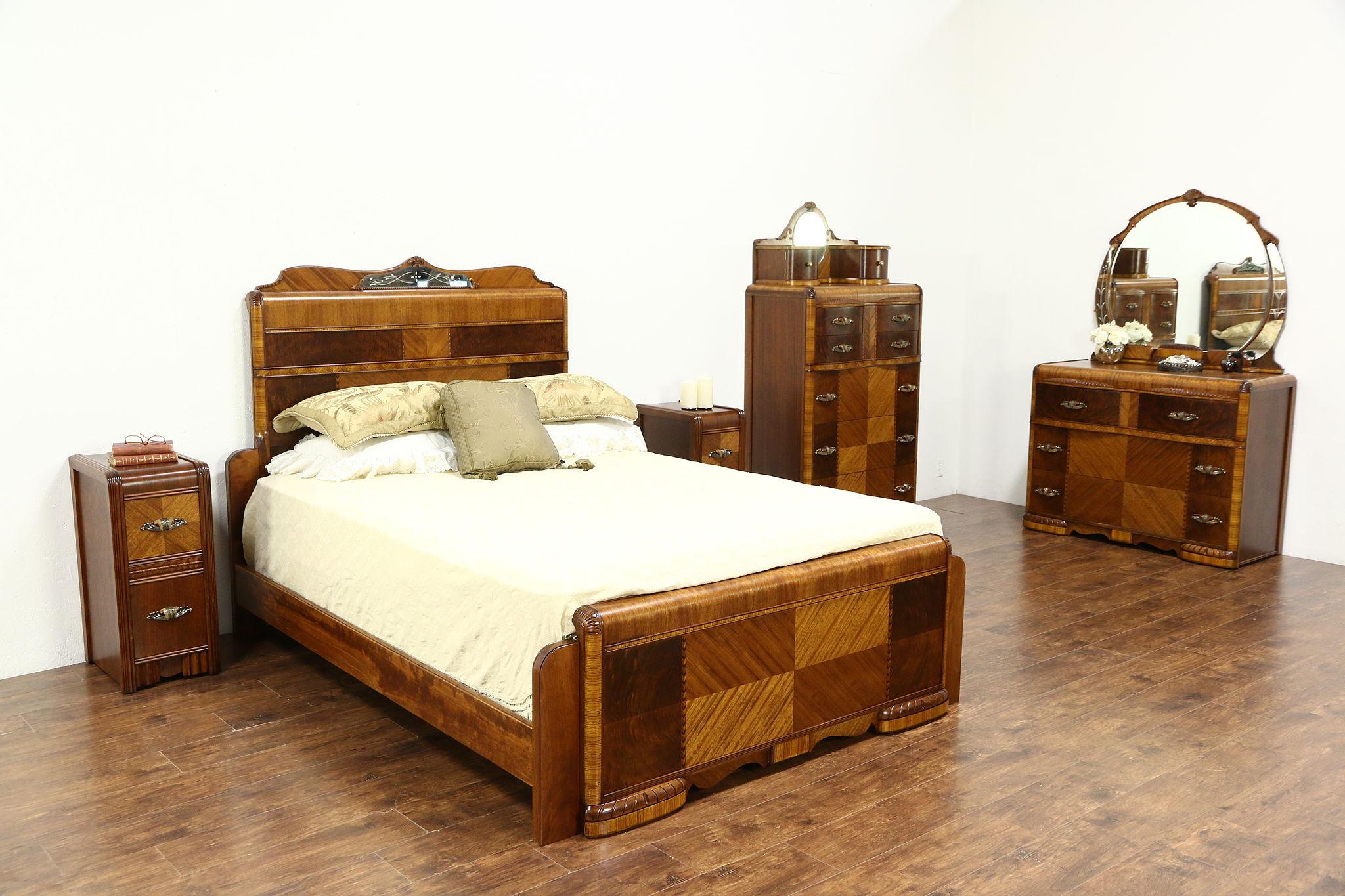 Art Deco 1935 Vintage Waterfall 5 Pc Bedroom Set  Queen Size Bed. SOLD   Art Deco 1935 Vintage Waterfall 5 Pc Bedroom Set  Queen