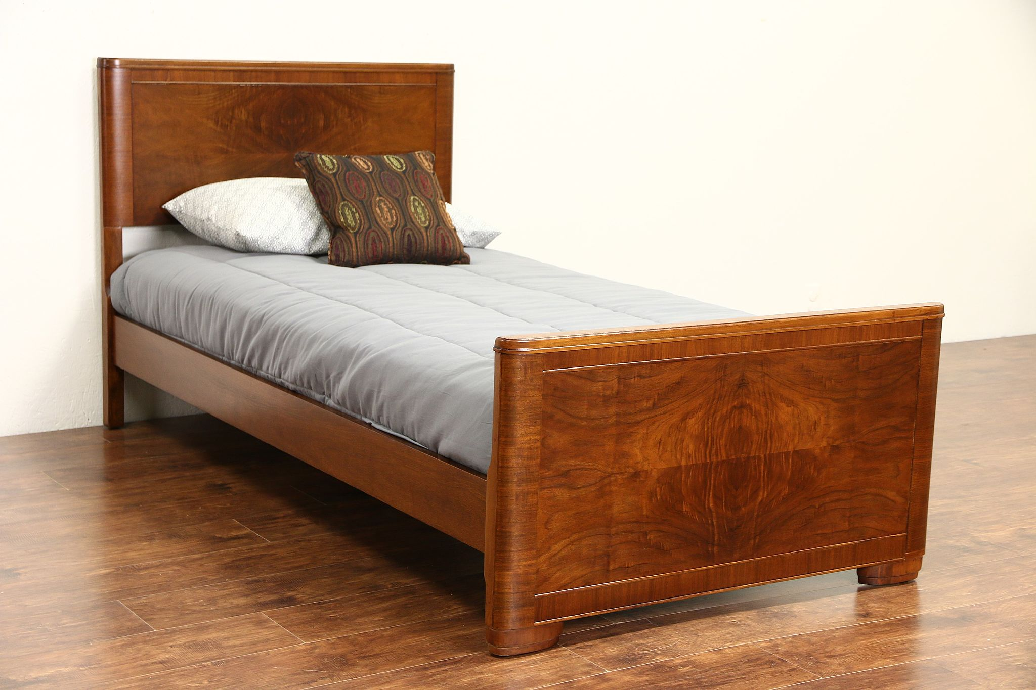 Sold Midcentury Modern 1950 Vintage Twin Or Single Size Walnut Bed Harp Gallery Antiques Furniture