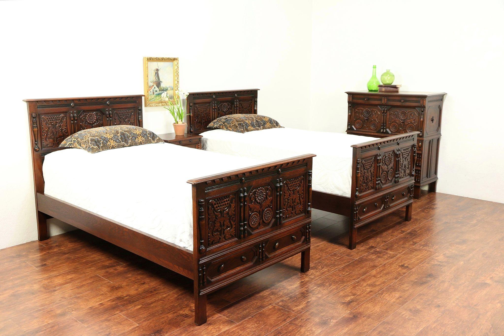SOLD - English Tudor Antique 4 Pc Oak Bedroom Set, Twin Beds, Signed ...