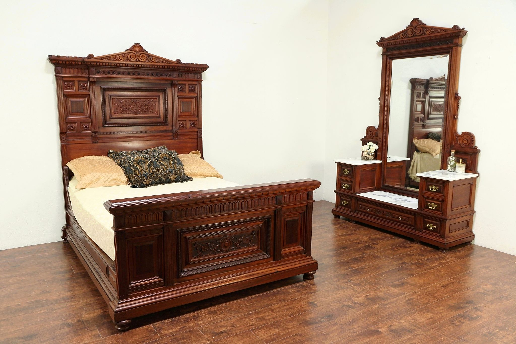 Sold Victorian Antique Mahogany Near Queen Size 2 Pc Marble Top