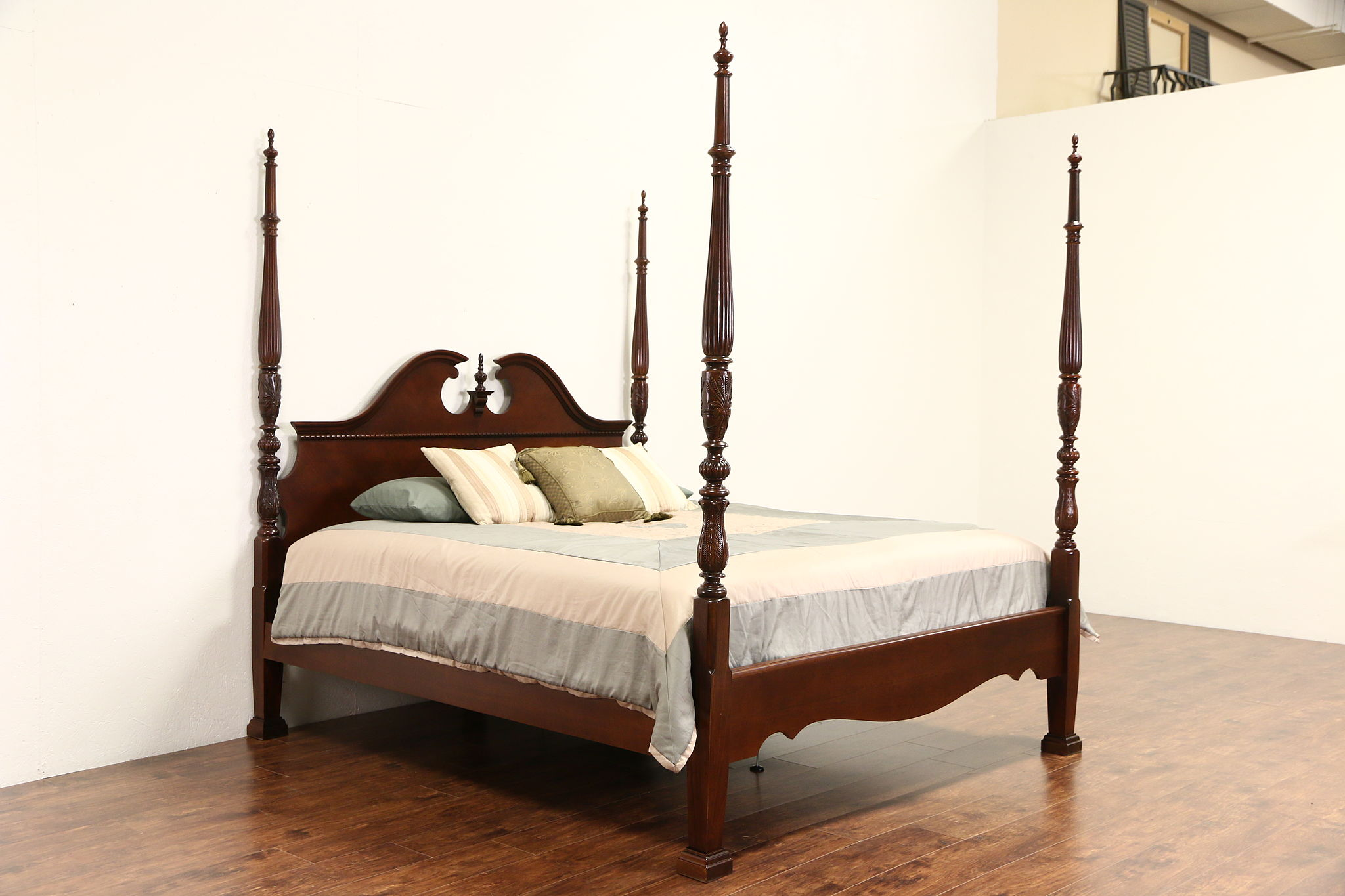 SOLD - King Size Rice Plantation 4 Poster Bed, Carved Mahogany ...