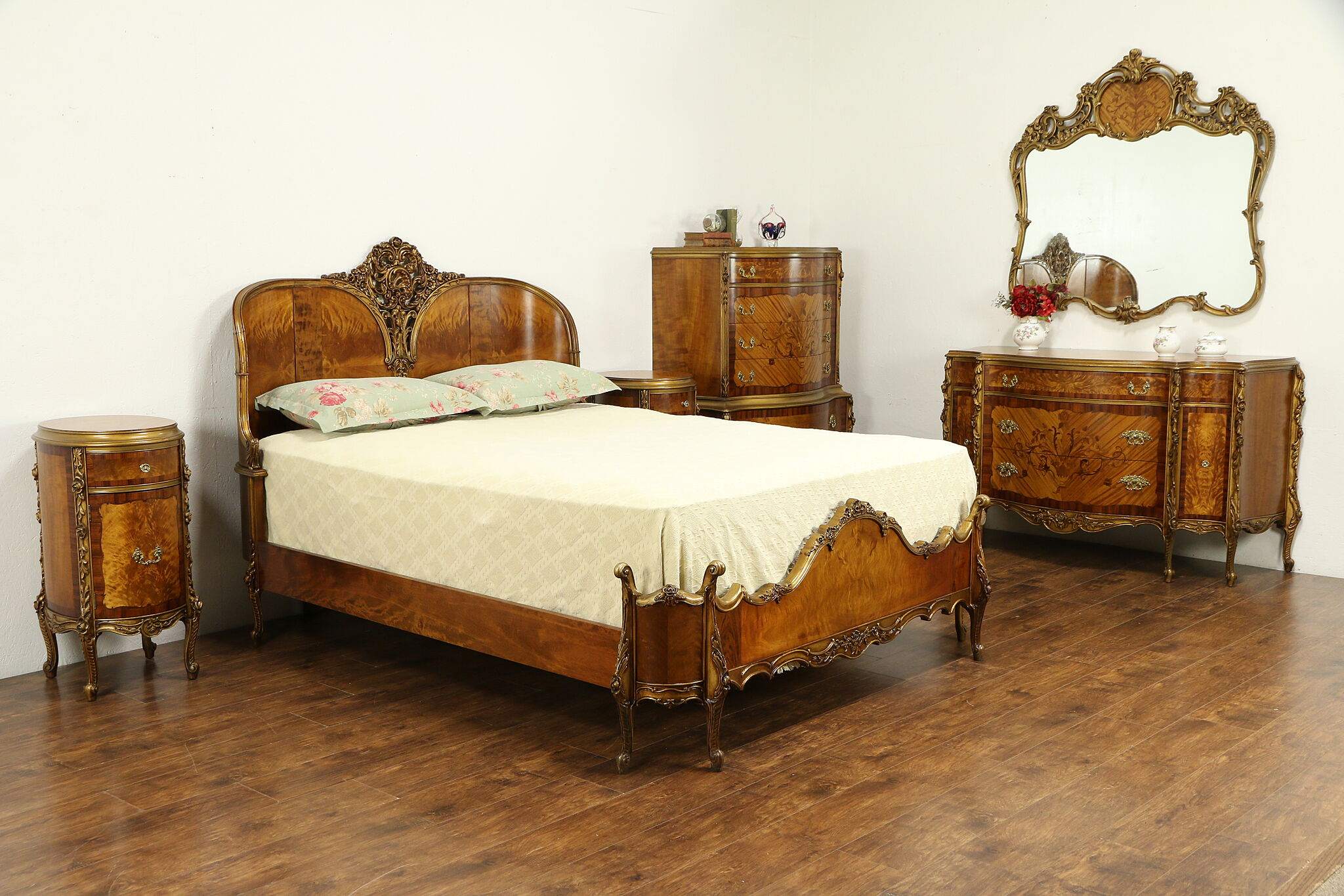 Satinwood & Rosewood Marquetry Queen Size 6 Pc Bedroom Set, Rockford #31829