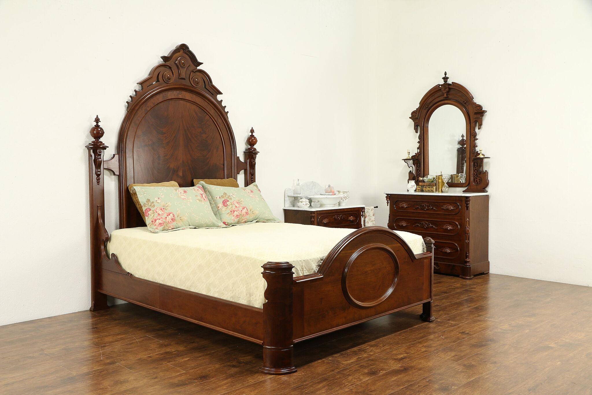 Sold Victorian Antique Cherry Mahogany Queen Size Bedroom Set