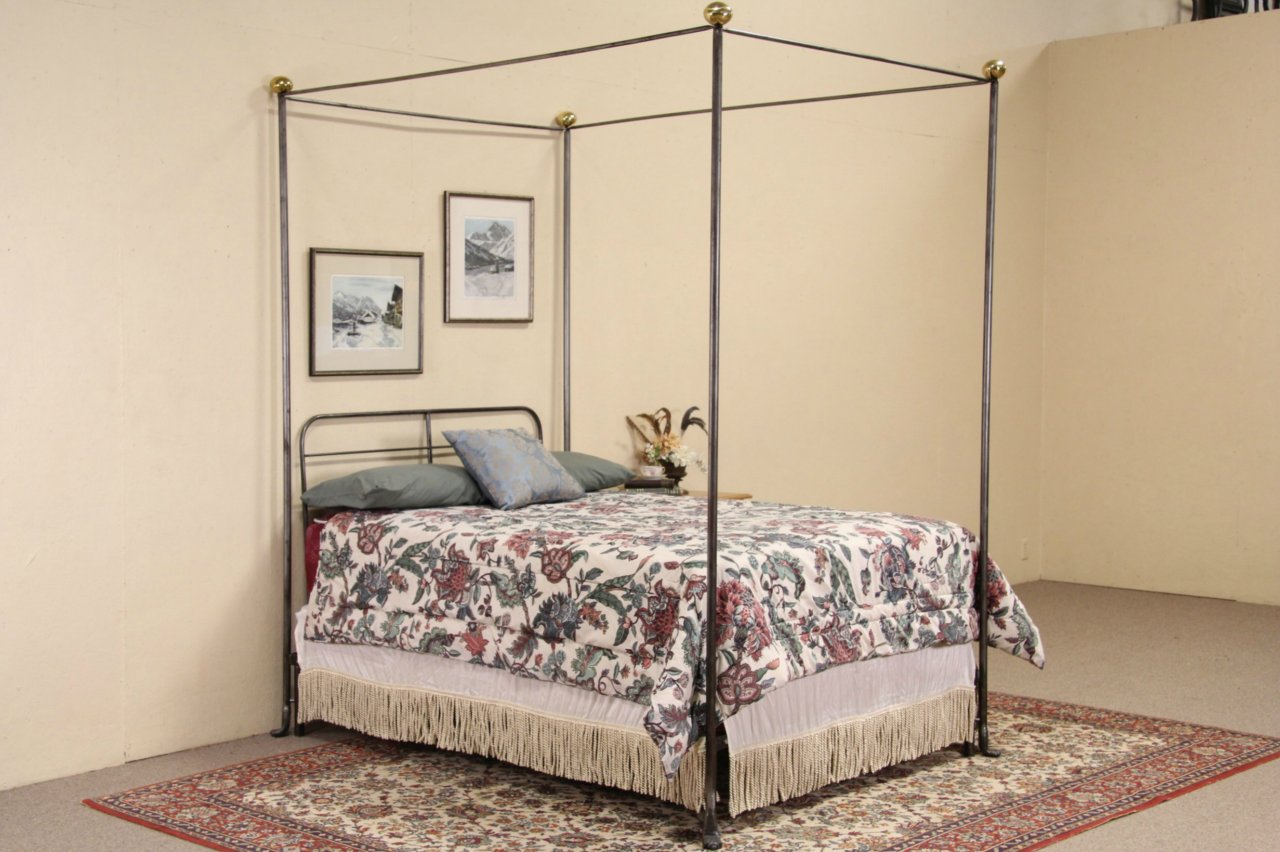 sold - wrought iron & brass vintage full size canopy bed - harp
