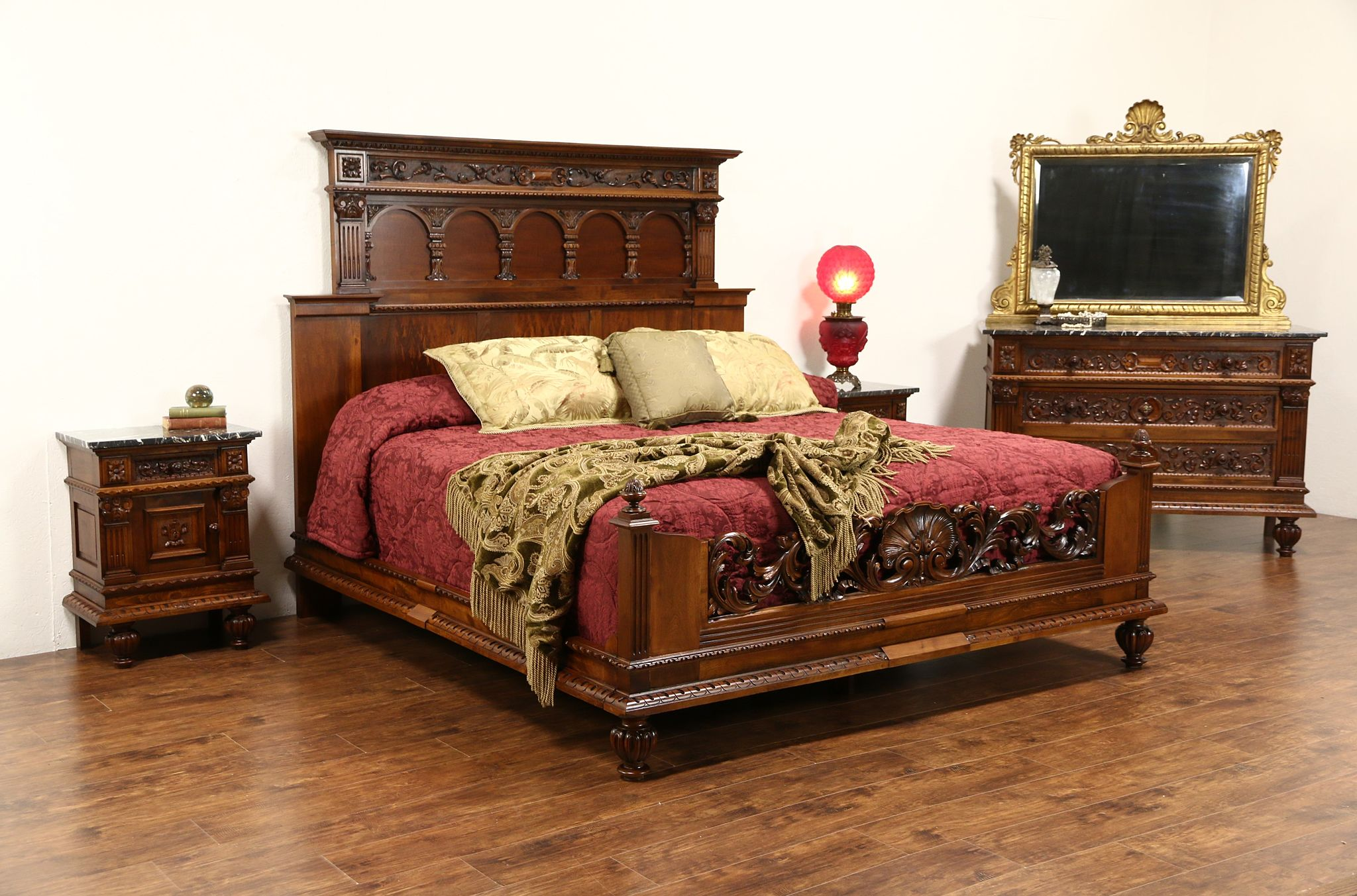 Italian Renaissance 1900\'s Antique King Size 4 Pc. Bedroom Set Marble Top  Chests