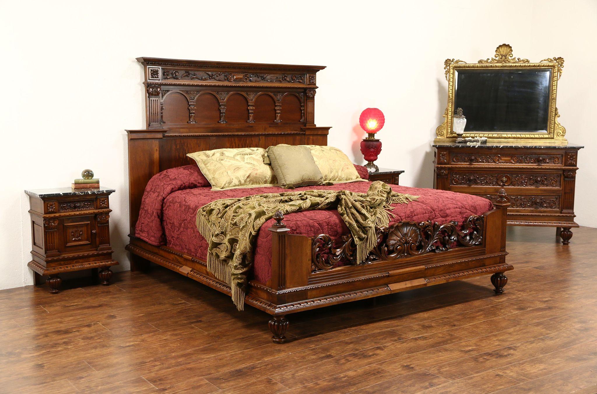 Italian Renaissance 1900u0027s Antique King Size 4 Pc. Bedroom Set Marble Top  Chests