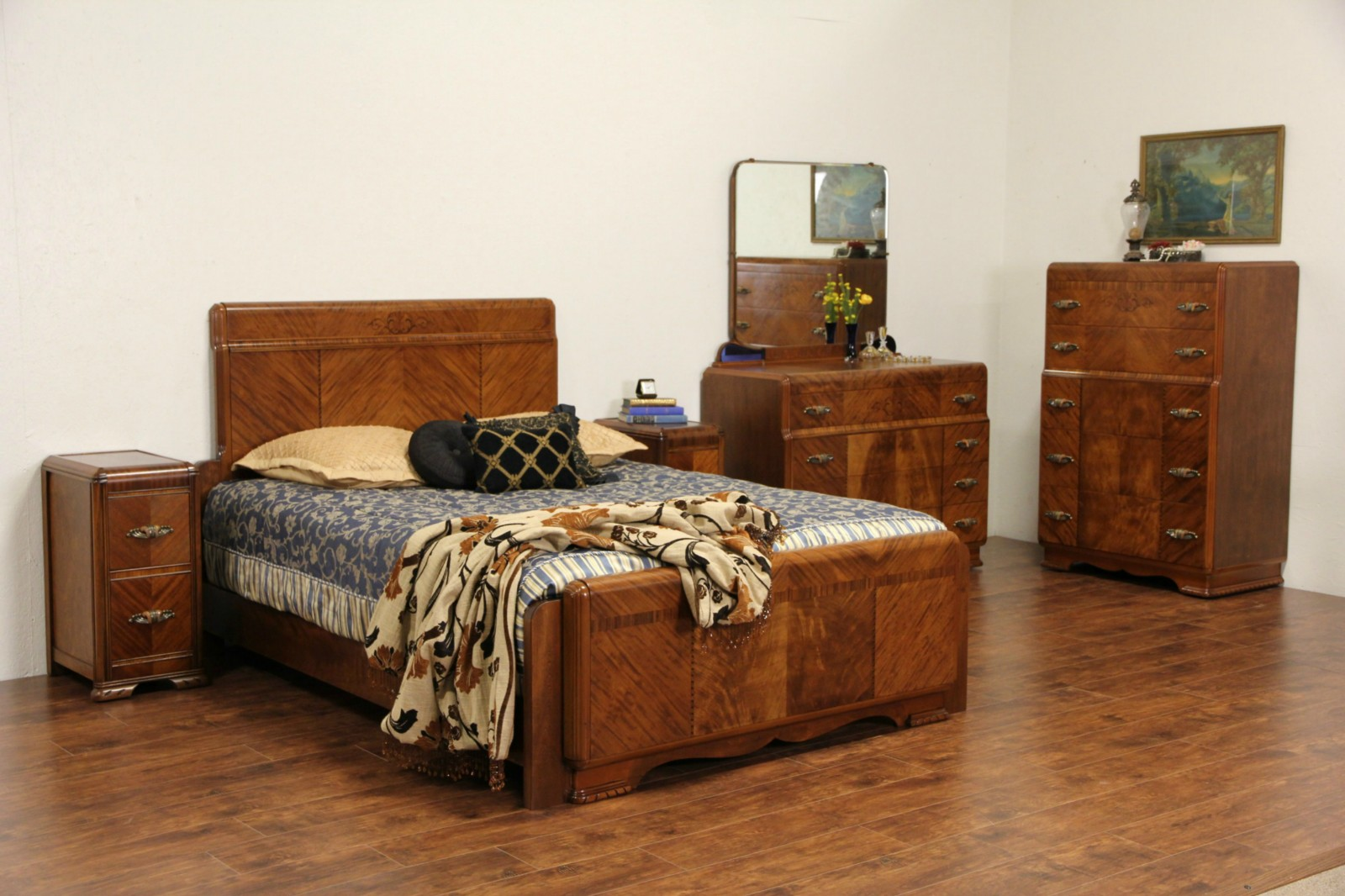 SOLD - Art Deco 1930's Queen Size Waterfall 5 Pc. Bedroom Set ...