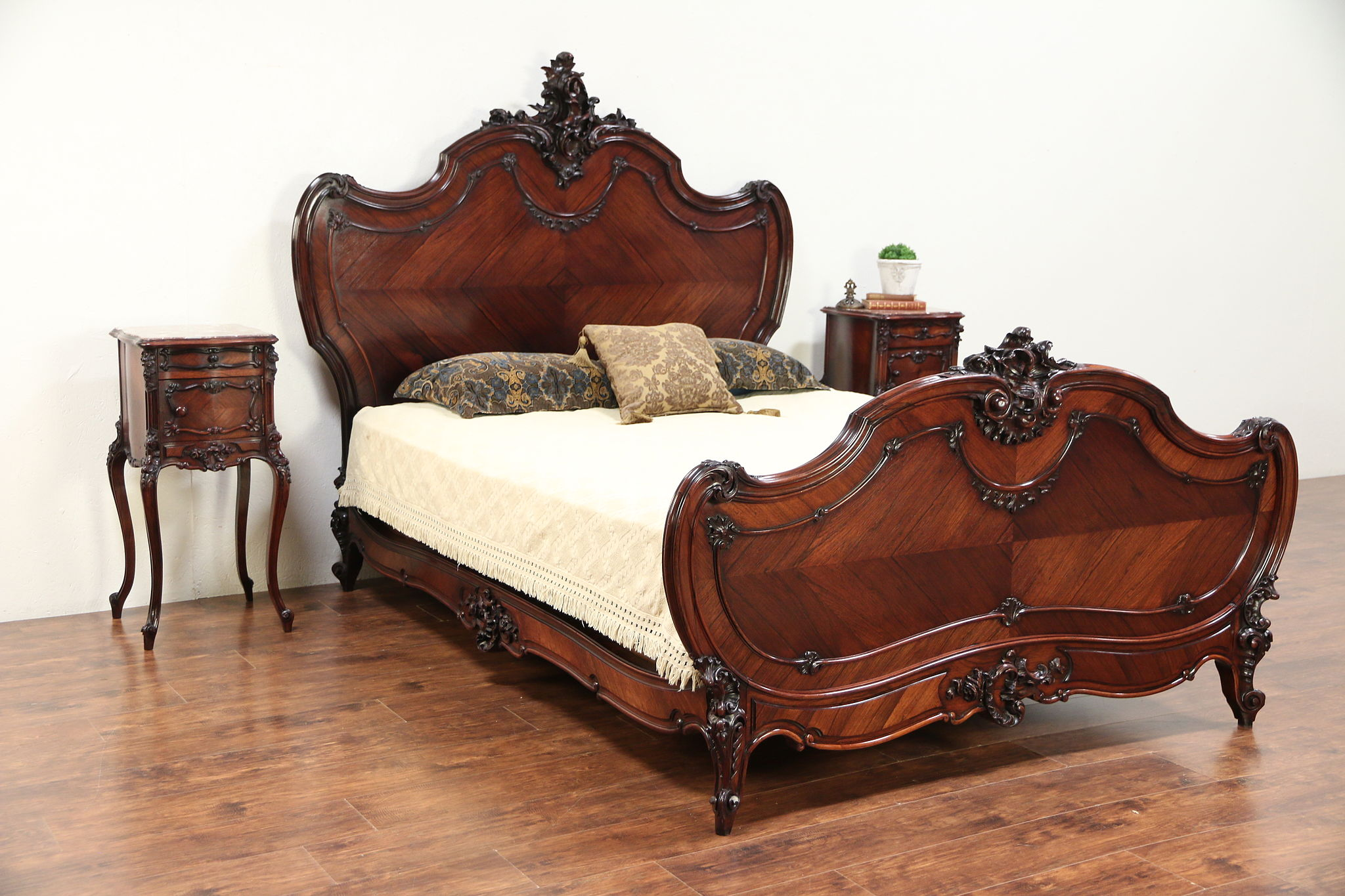 French Rosewood Antique Bedroom Set, Queen Size Bed & Nightstands #29601