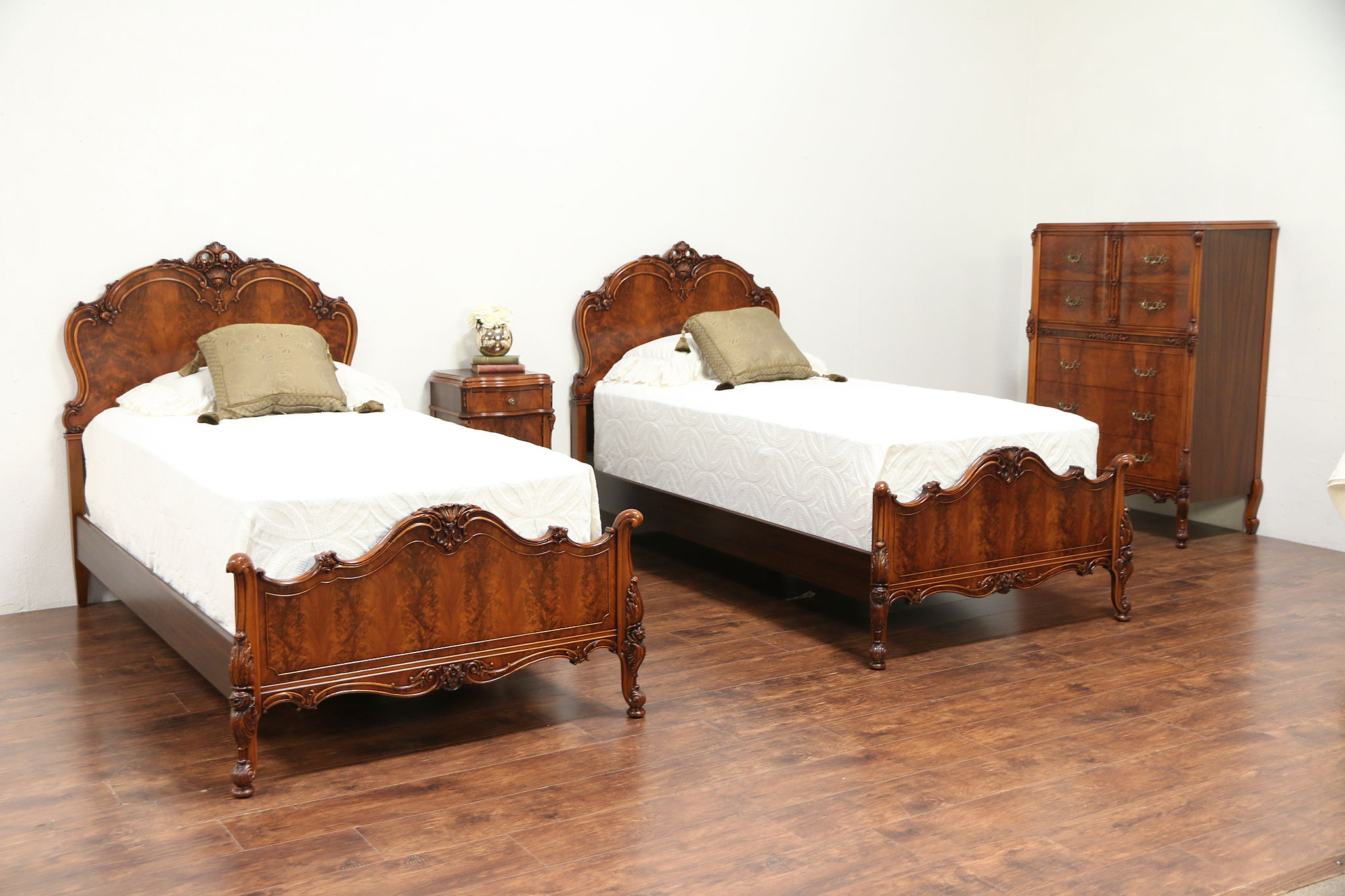 French Style Antique Bedroom Set, Twin Beds, Nightstand, Tall Chest ...