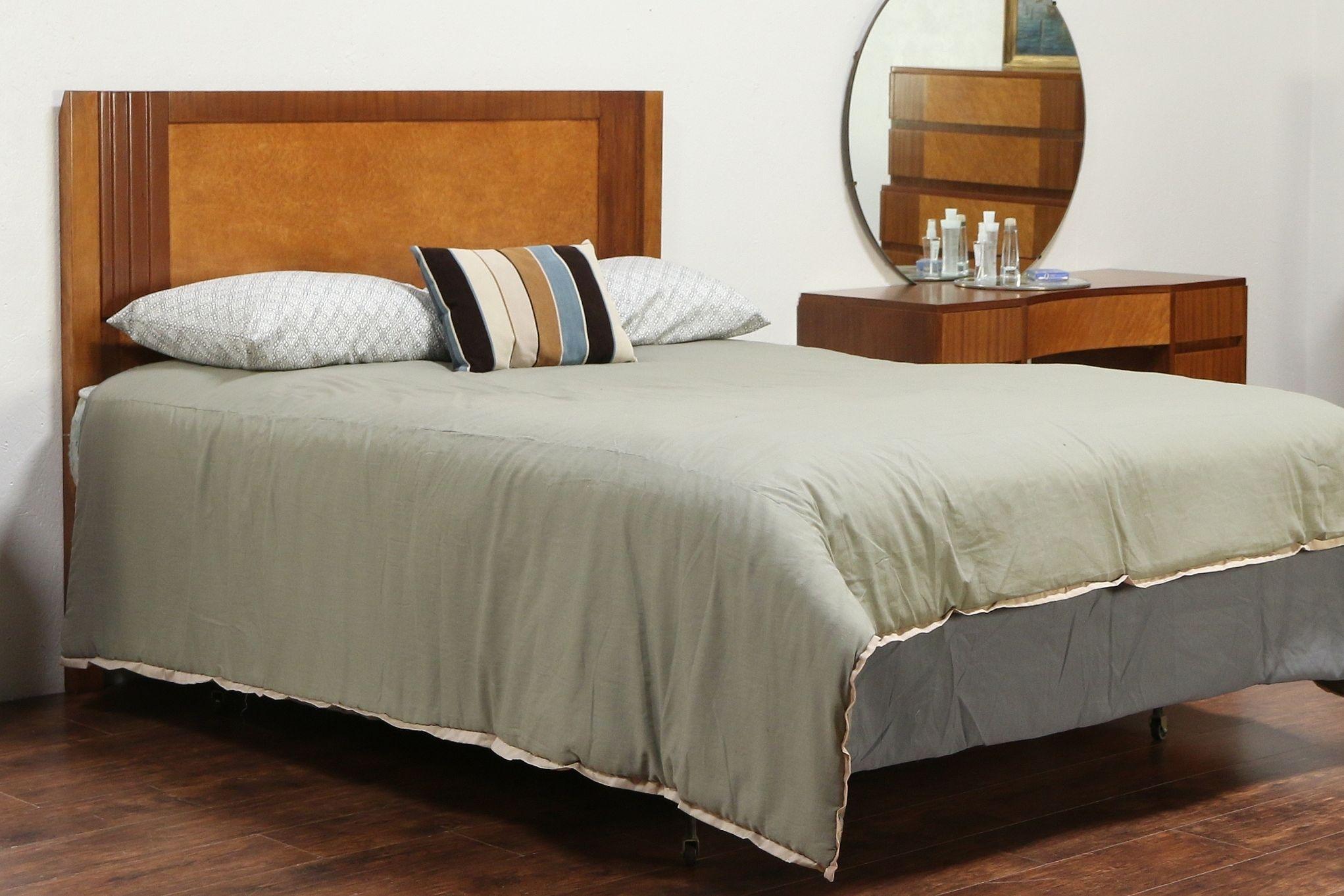 Midcentury modern queen size bed headboard vintage maple mahogany rway 29525