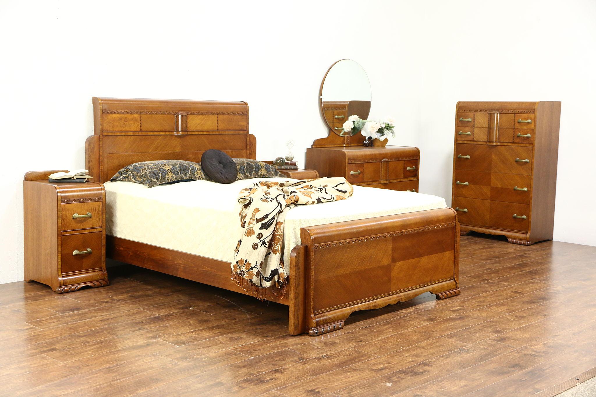 SOLD - Art Deco Waterfall 5 Pc. Vintage Bedroom Set, Queen Size Bed ...