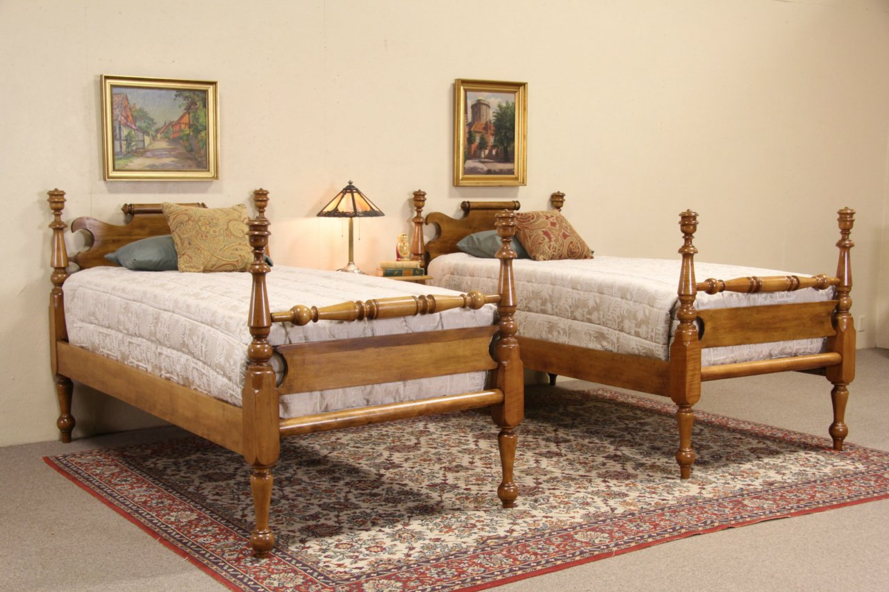pair of empire 1840s antique twin maple poster beds - Antique Twin Bed Frame