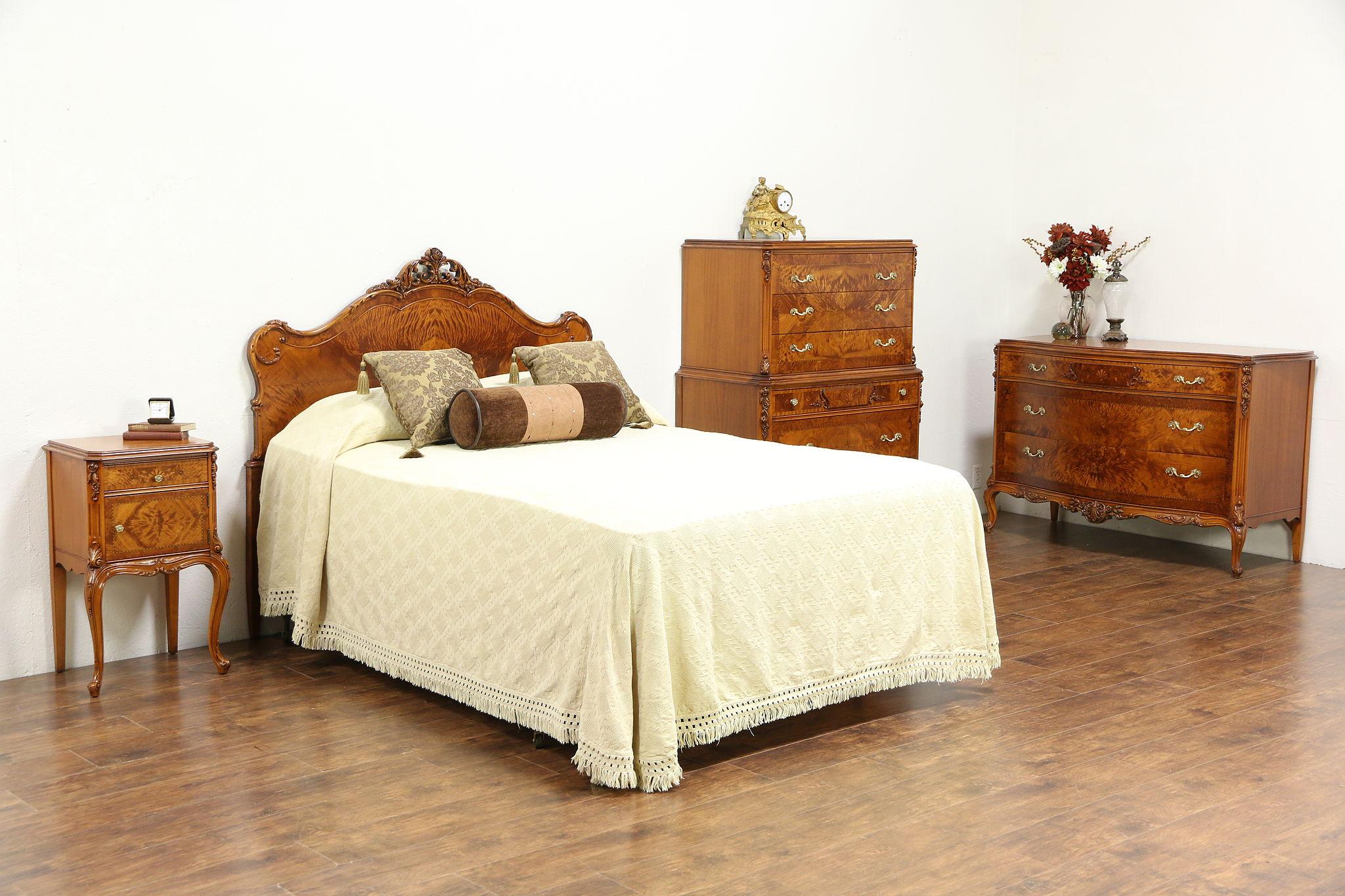 French Style Satinwood & Burl Carved 4 pc. 1940 Vintage Bedroom Set