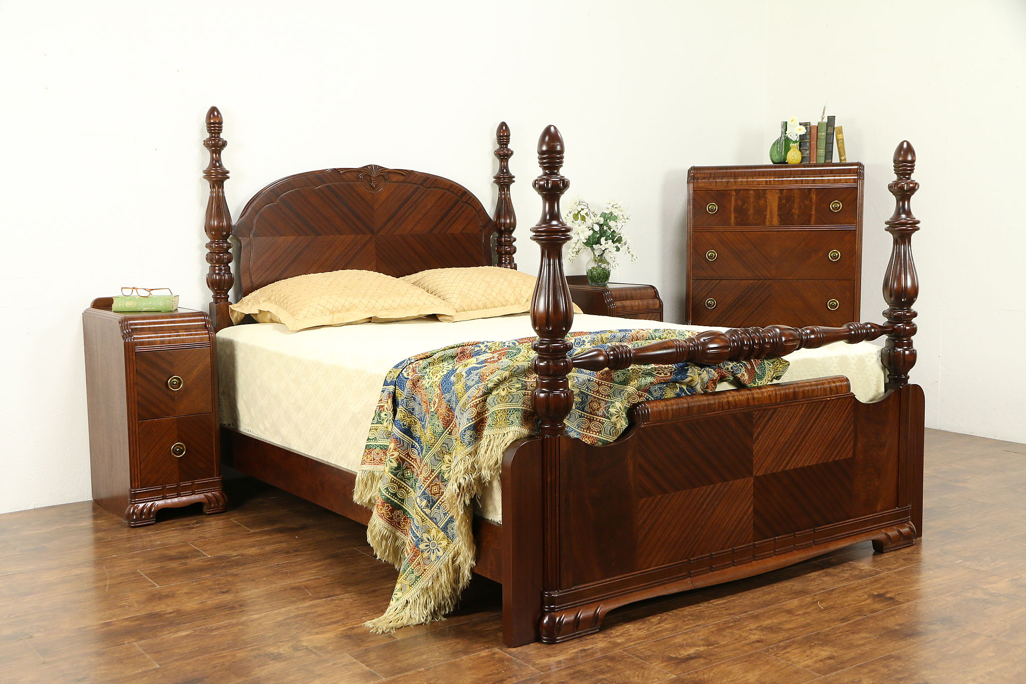 Art Deco Waterfall 4 Pc Vintage Bedroom Set Queen Size Bed 32220 Harp Gallery Antiques Furniture