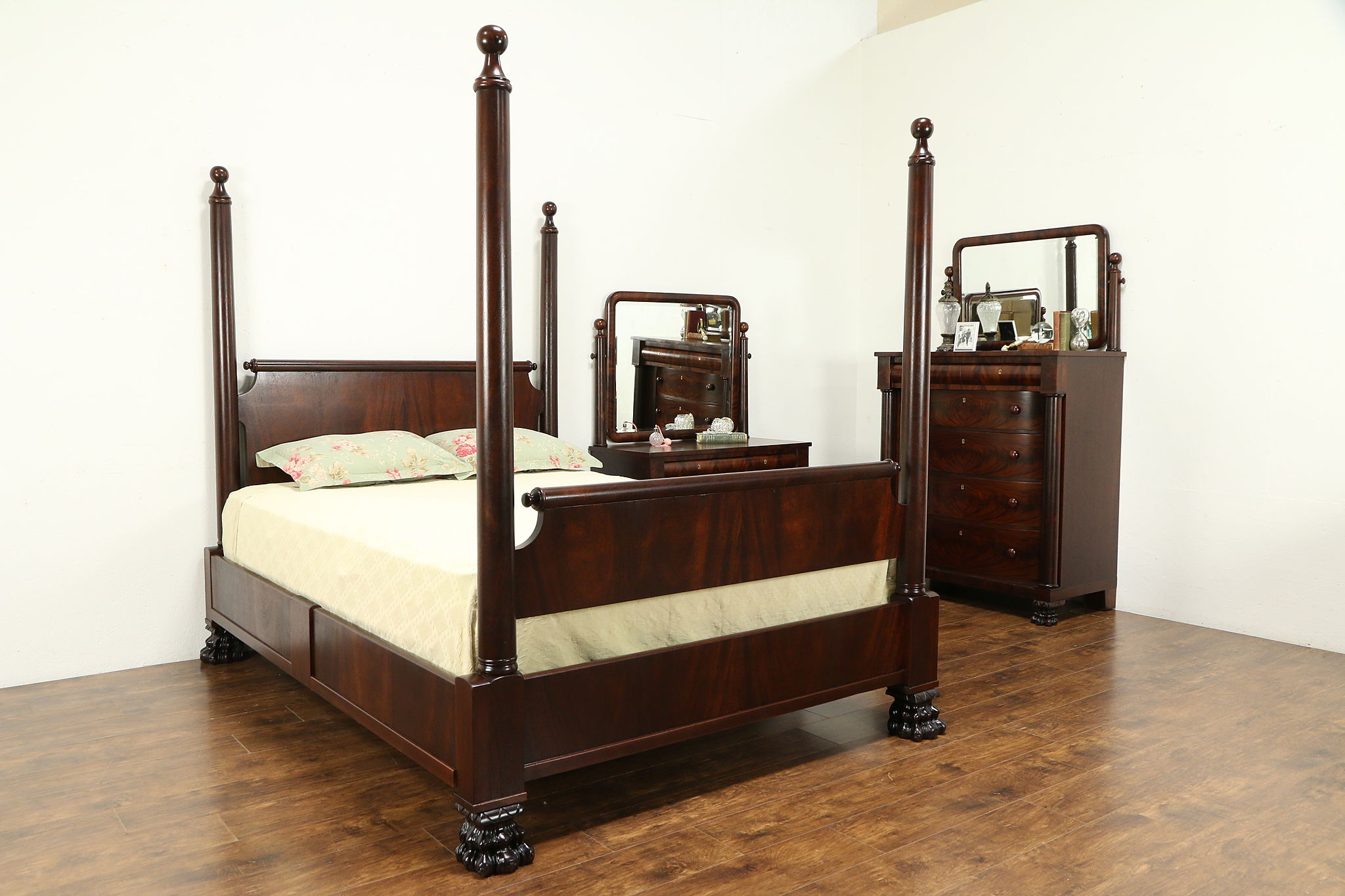 Sold Empire Antique Mahogany 3 Pc Bedroom Set Queen Size Poster Bed 32388 Harp Gallery Antiques Furniture