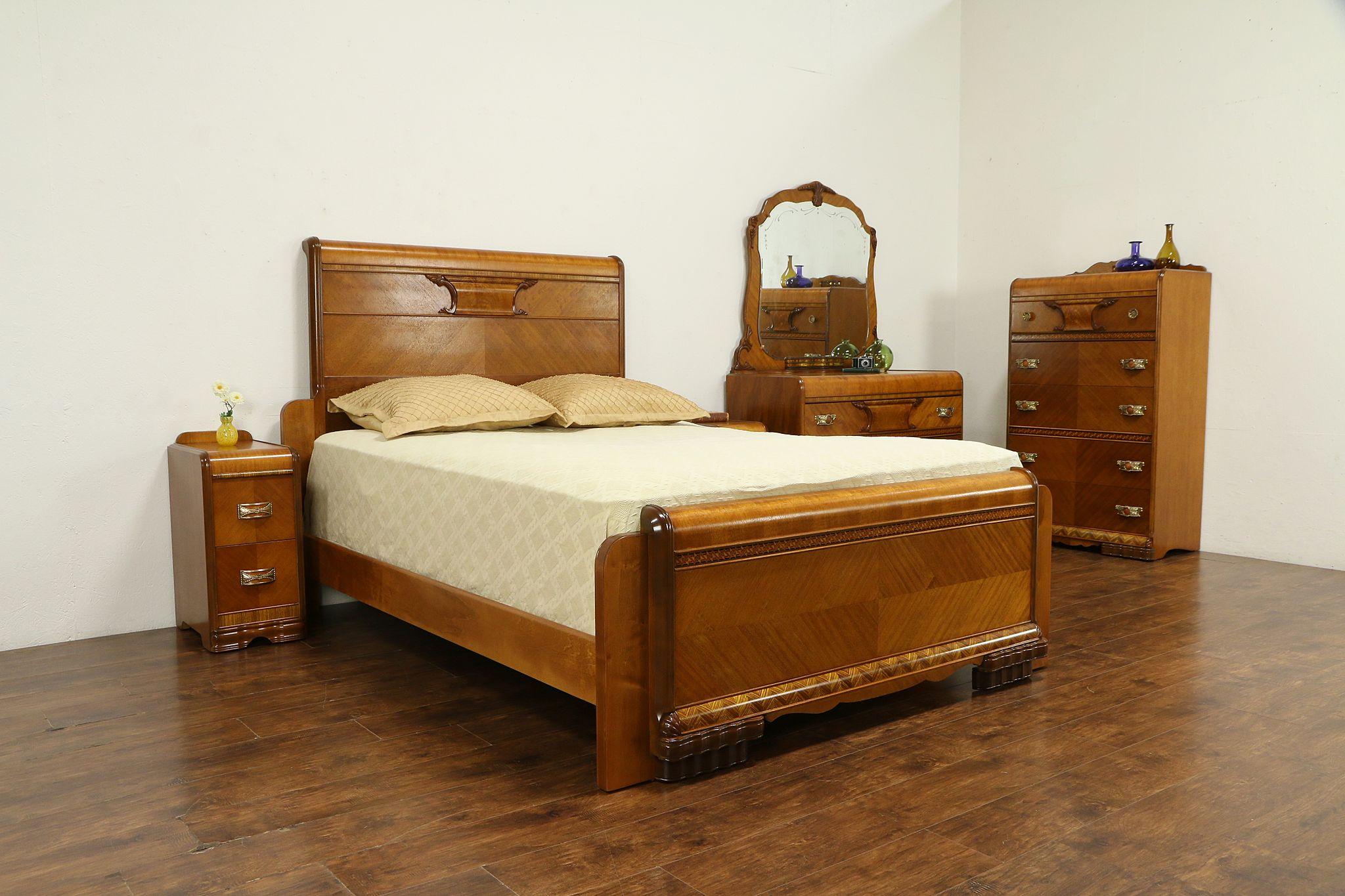 Art Deco Waterfall Vintage 5 Pc Bedroom Set, Queen Size Bed #32439