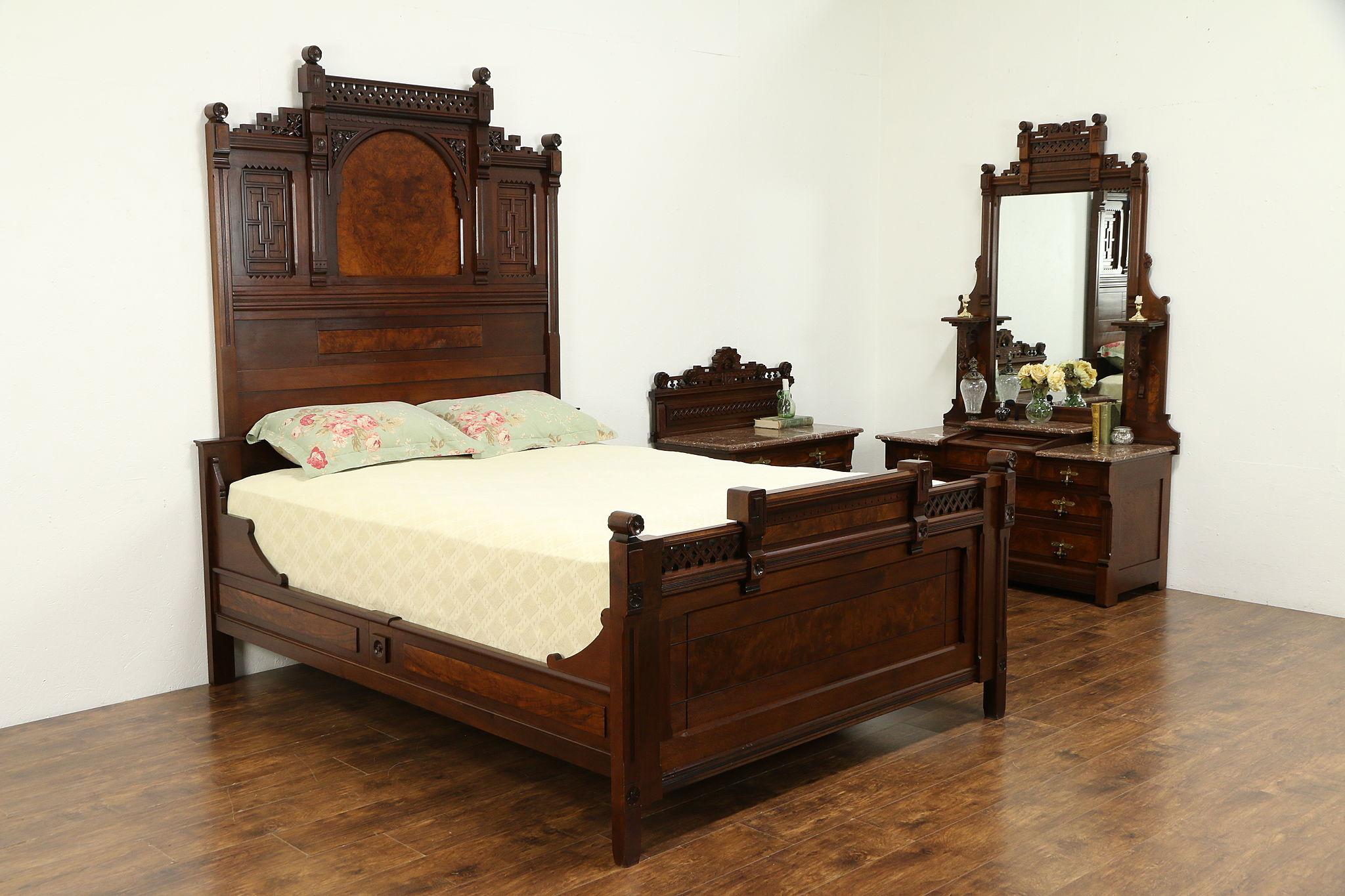 Victorian Eastlake Antique Queen Size Walnut 3 Pc Bedroom Set