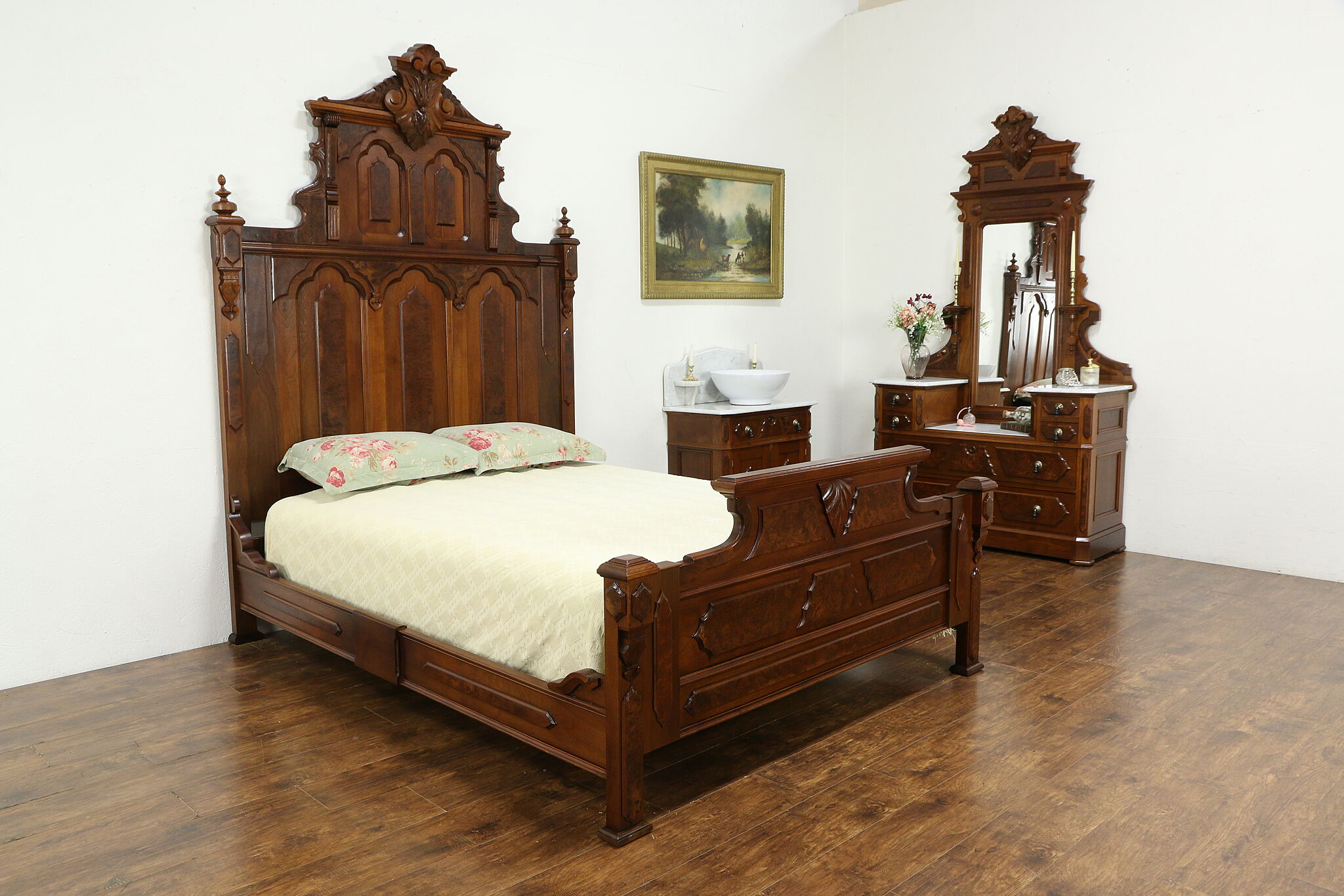 Victorian Antique Walnut Bedroom Set Queen Size Bed Marble Tops 33760 Harp Gallery Antiques Furniture
