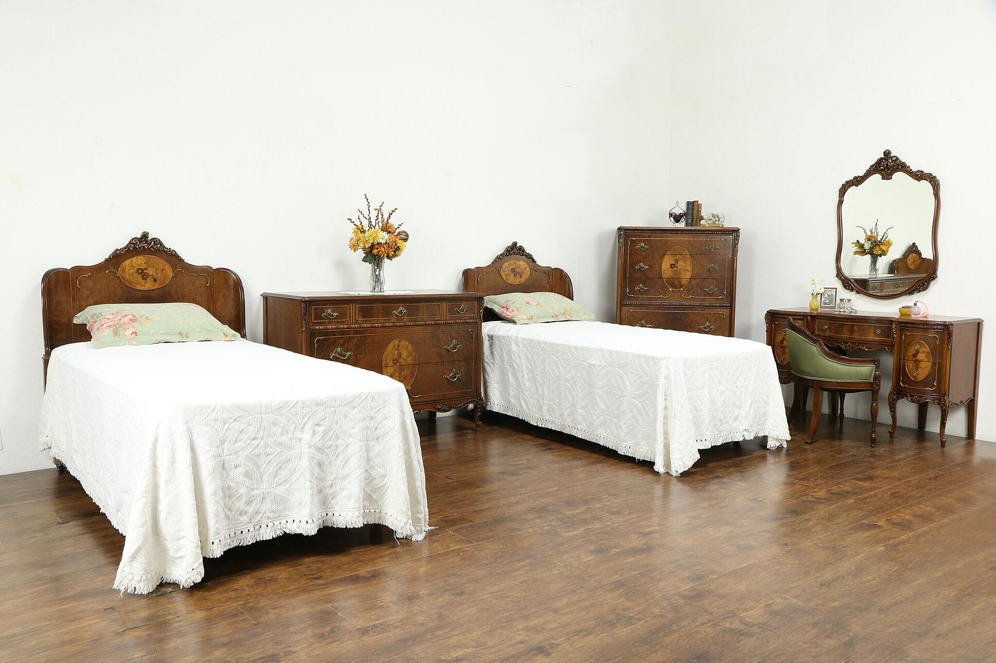 Sold French Style Vintage Carved Bedroom Set 2 Twin Beds Dresser Tall Chest 34039 Harp Gallery Antiques Furniture