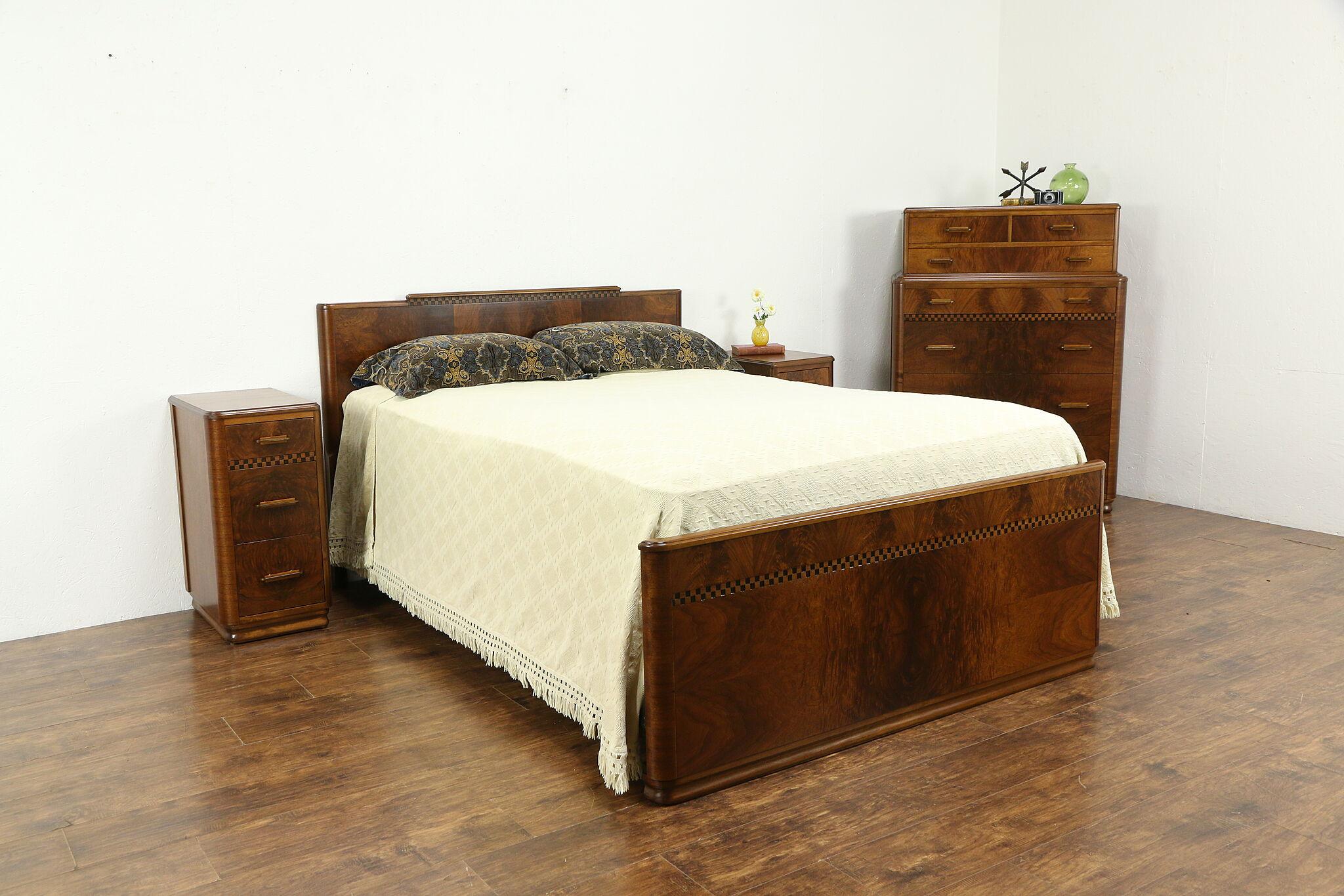 Sold Art Deco Vintage 4 Pc Bedroom Set Full Size Bed Highboy 2 Nightstands 34220 Harp Gallery Antiques Furniture,Modern Bathroom Wall Art Ideas
