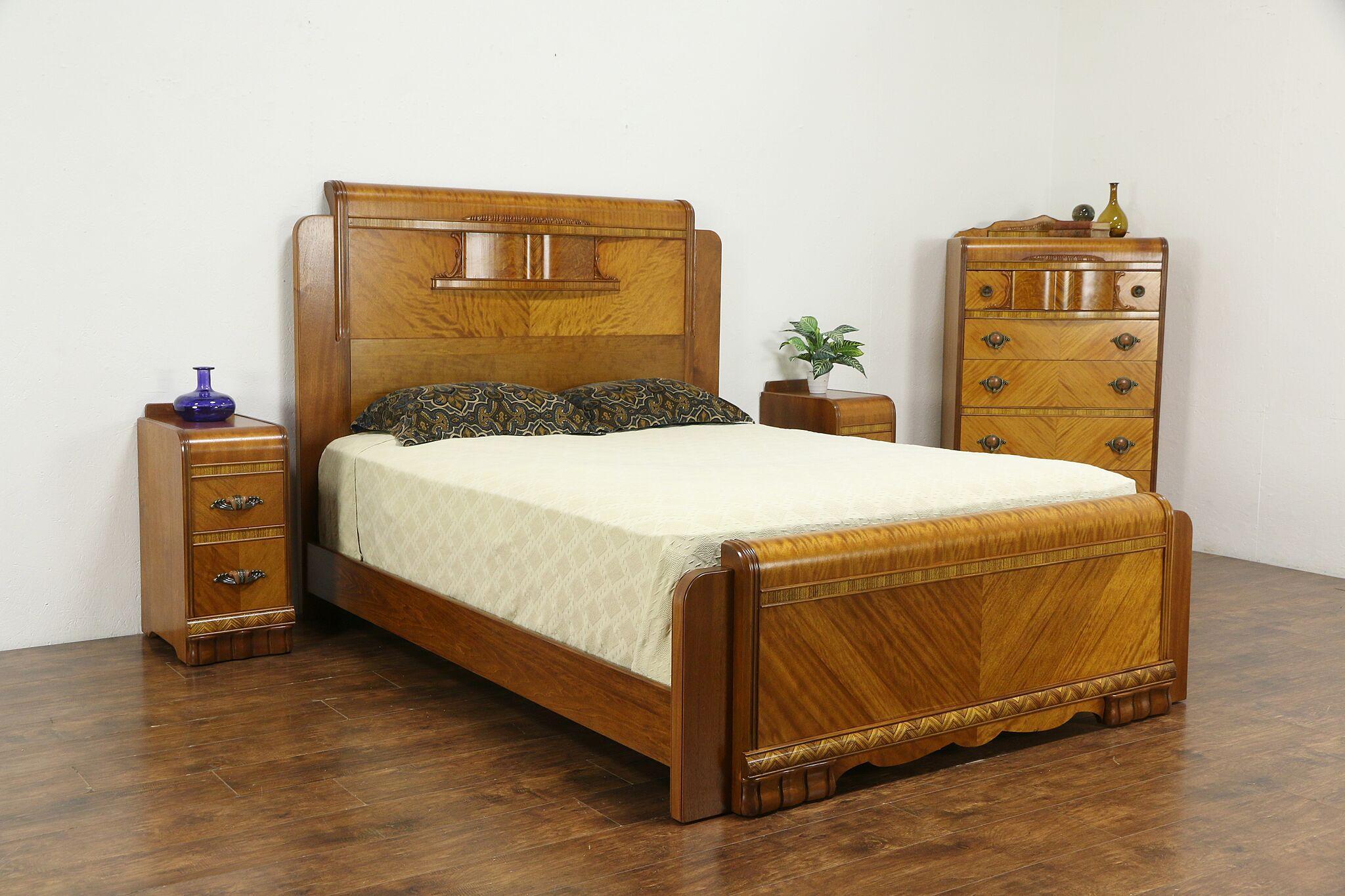 Sold Art Deco Waterfall Vintage Bedroom Set Queen Size Bed Chest Nightstands 35250 Harp Gallery Antiques Furniture