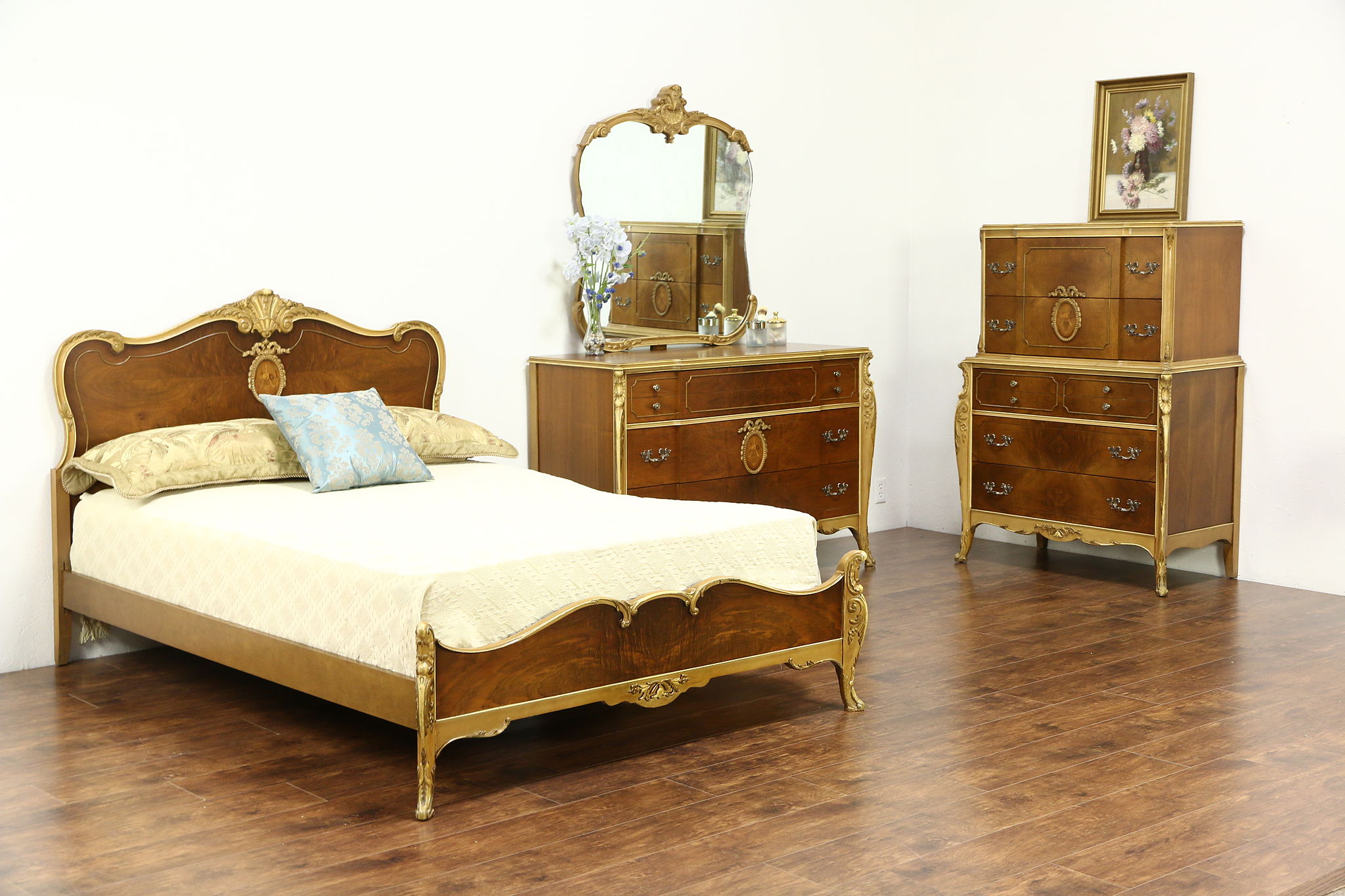 French Style 1940\'s Vintage 3 Pc Bedroom Set, Full Size Bed, Signed Joerns