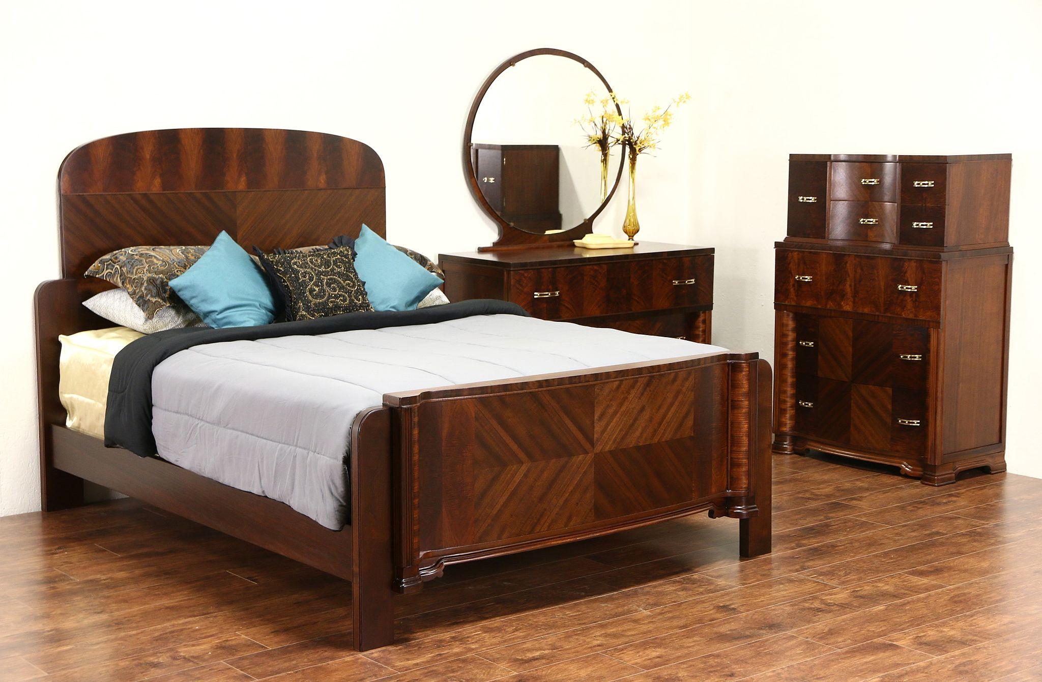 Sold Art Deco 1935 Vintage Bedroom Set Queen Bed Tall