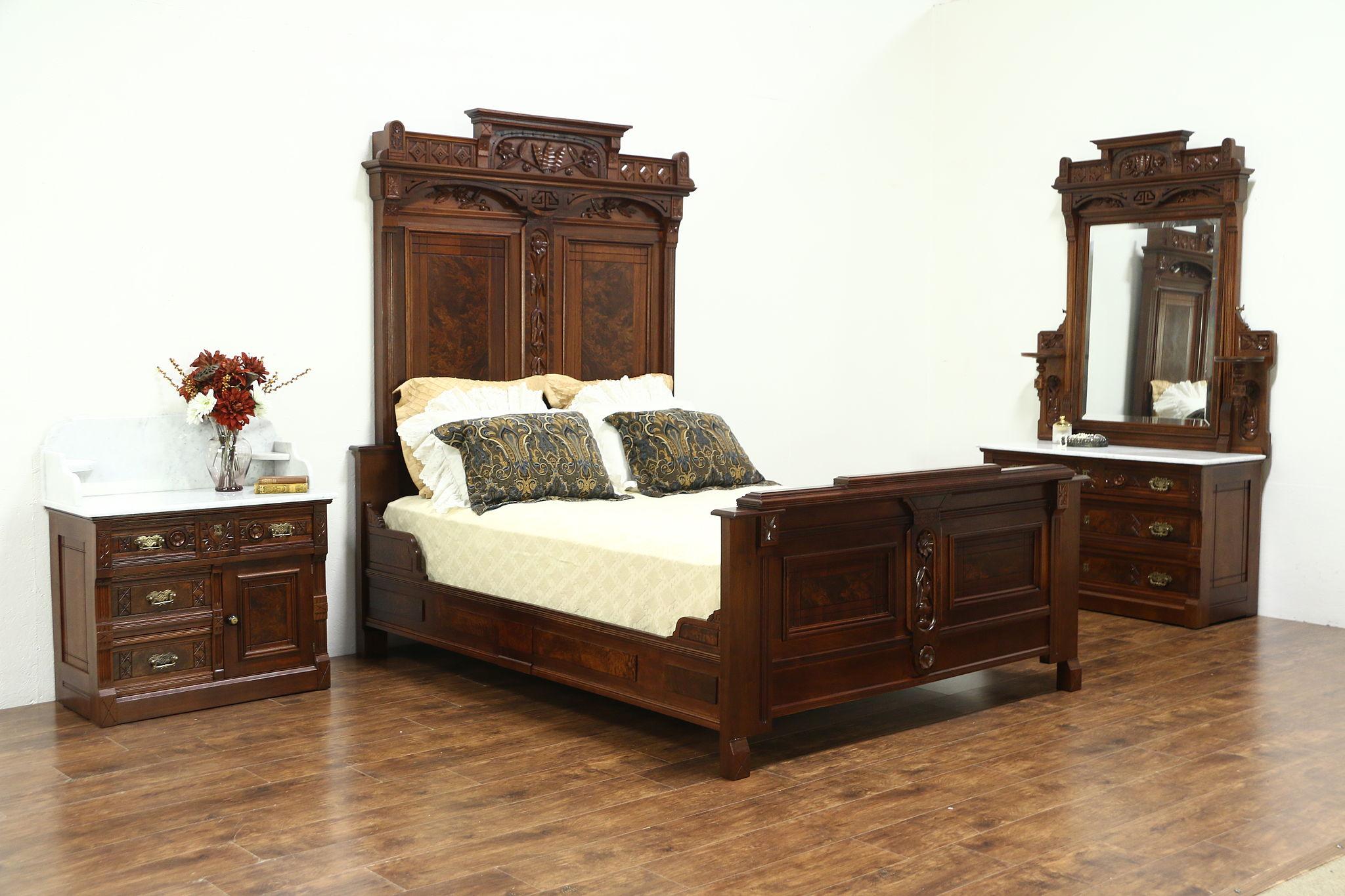 Sold Victorian Eastlake Antique Walnut Queen Size Bedroom Set Marble Tops 28866 Harp Gallery Antiques Furniture