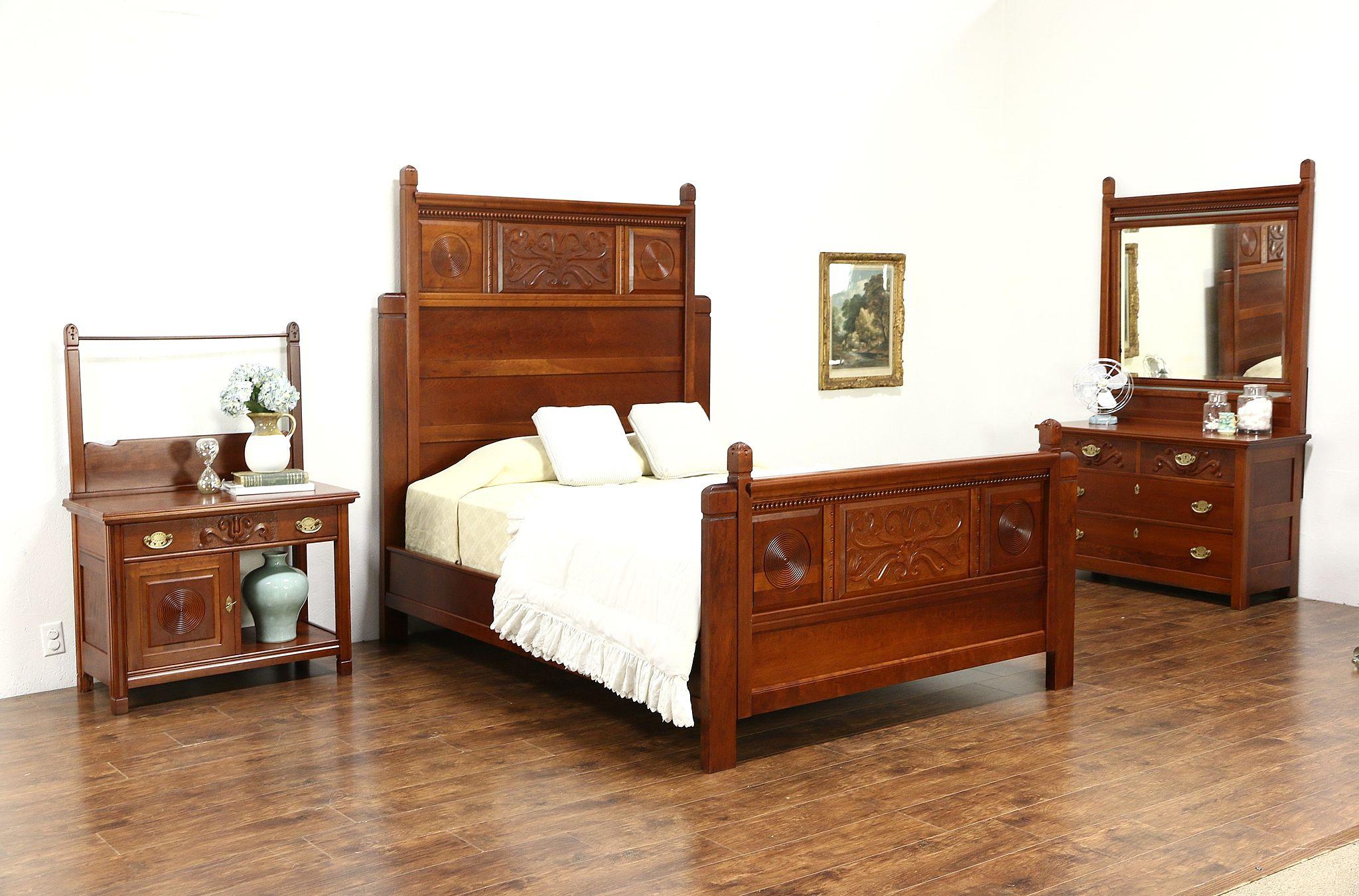 Victorian 1890 Antique Carved Cherry 3 Pc Bedroom Set Queen Size Bed Harp