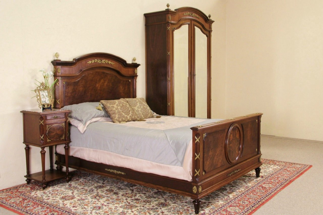 Sold French Empire Antique 3 Pc Bedroom Set Bed Armoire Nightstand Harp Gallery