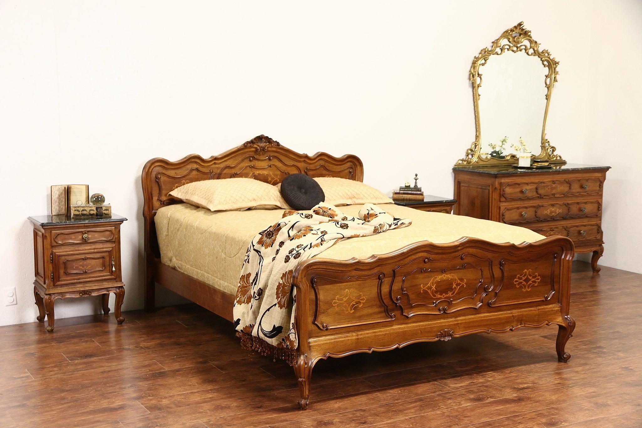 Sold Italian S Bedroom Set Queen Size Bed Marble Top