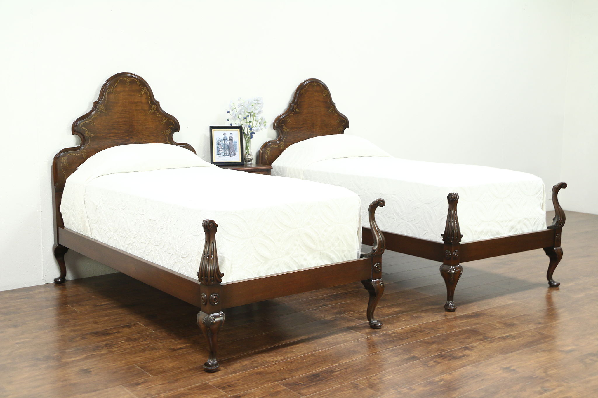 Sold Walnut Antique Bedroom Set Twin Beds Nightstand Signed Tobey Harp Gallery Antiques Furniture