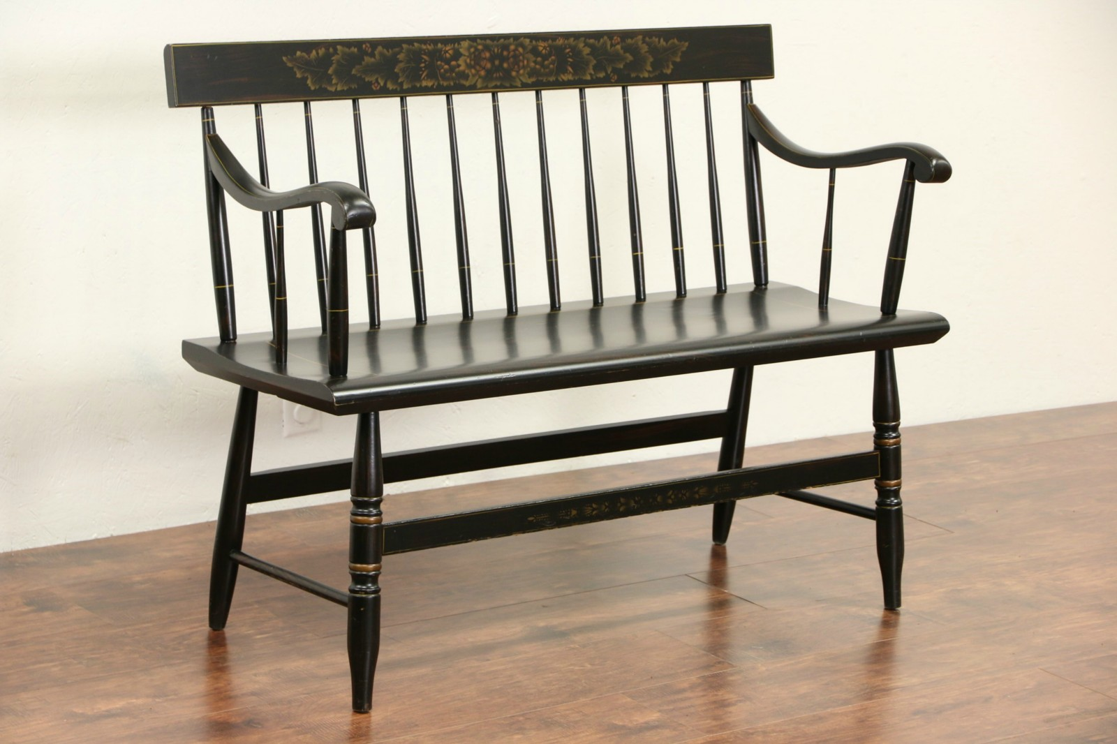 Wondrous Hitchcock Style 1950 Vintage Stenciled Black Hall Bench Machost Co Dining Chair Design Ideas Machostcouk