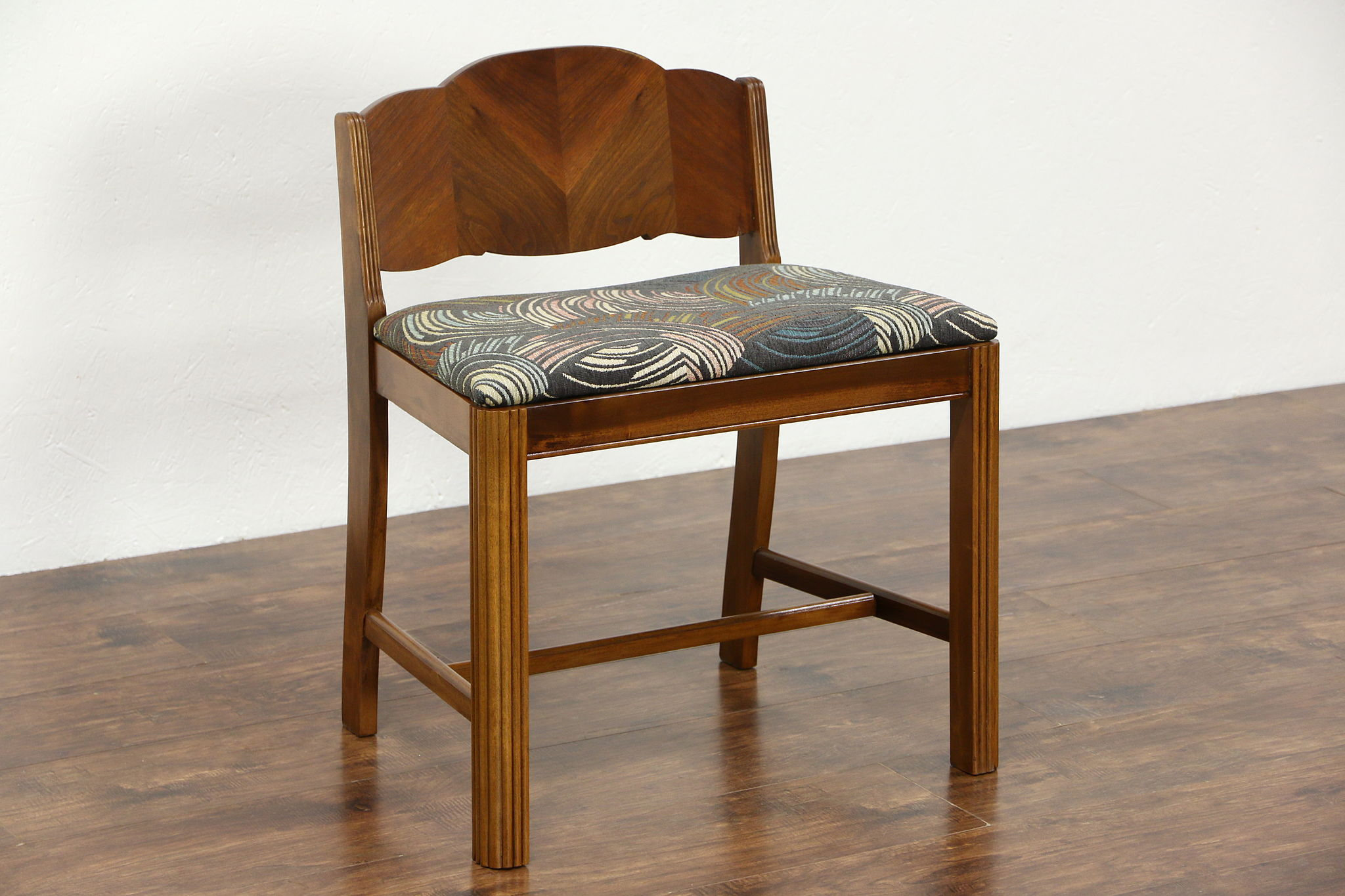 Sold Art Deco 1935 Vintage Bench Or Vanity Chair Newly Upholstered Harp Gallery Antiques Furniture