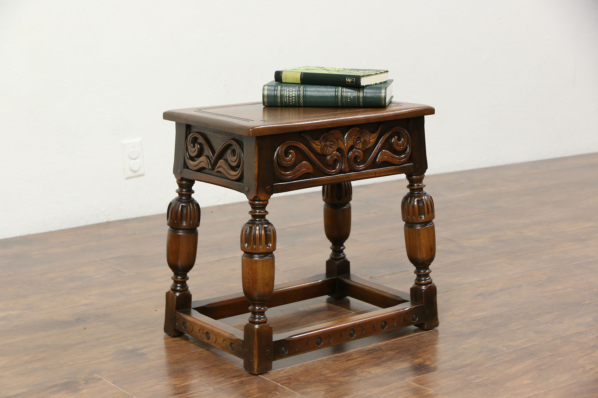 SOLD Renaissance Carved Walnut Stool Bench or Chairside Table