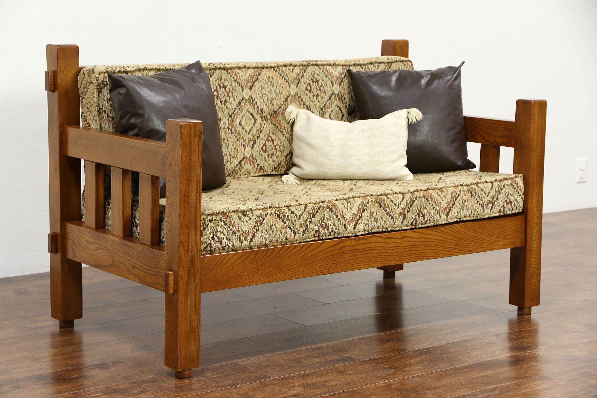 Astonishing Arts Crafts Mission Oak 1994 Vintage Loveseat Craftsman Settee New Upholstery Uwap Interior Chair Design Uwaporg
