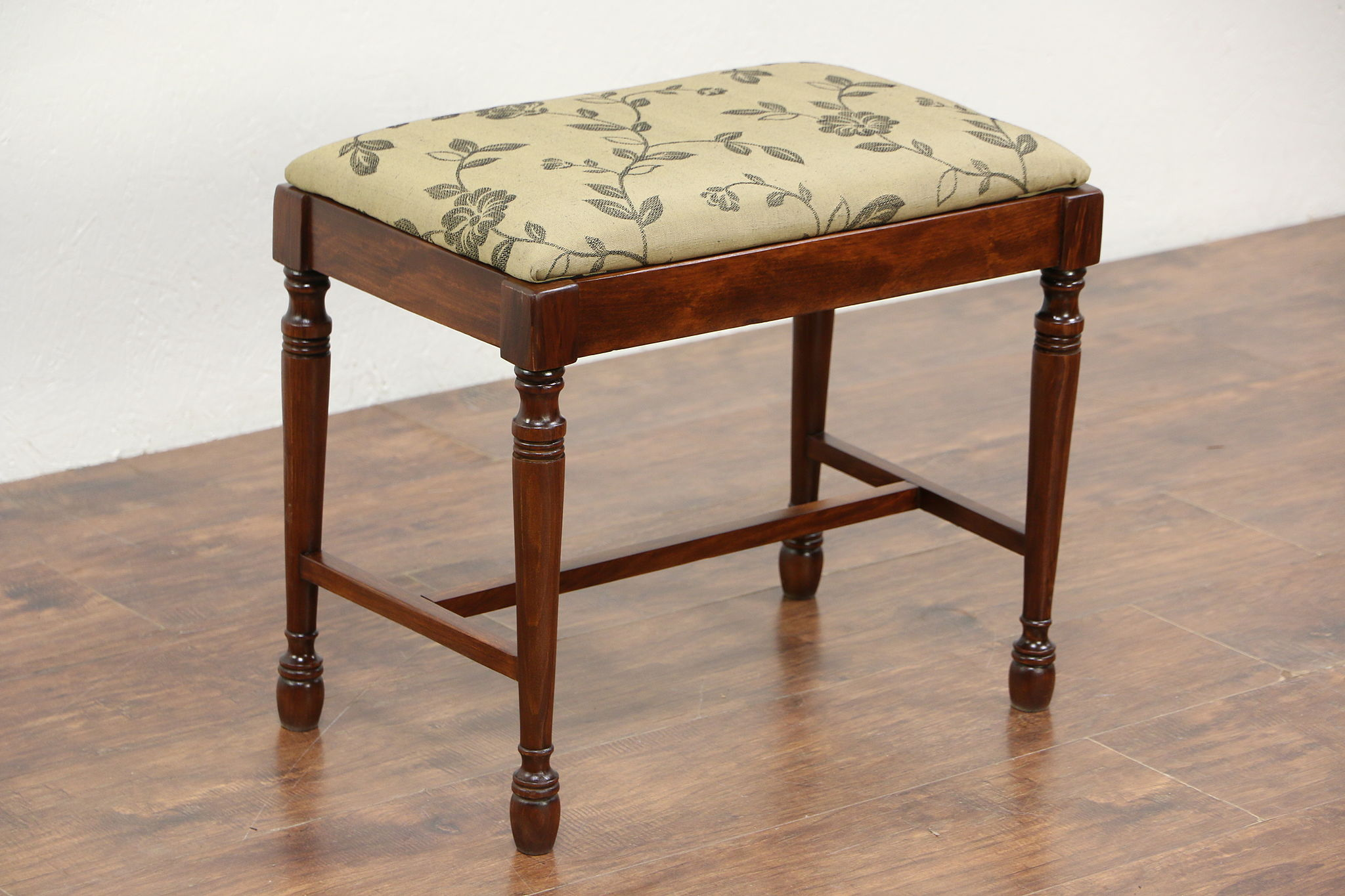 SOLD - Maple 1920\'s Antique Bench or Stool, New Upholstery - Harp ...