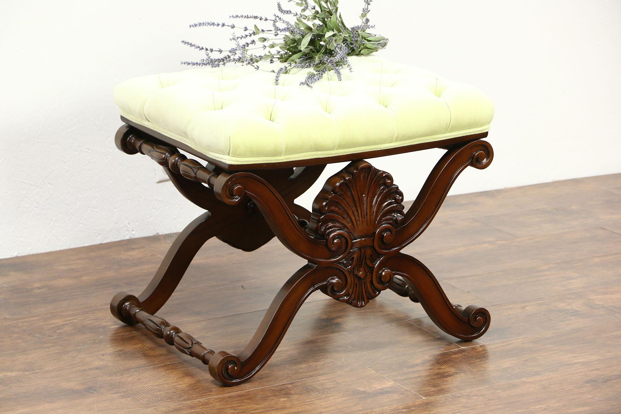 Sold Karges Signed Vintage Carved Fruitwood Bench