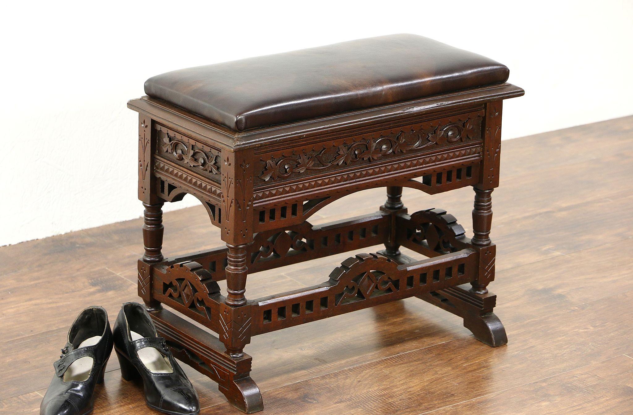 Sold Victorian Eastlake 1880 Antique Bench Slipper