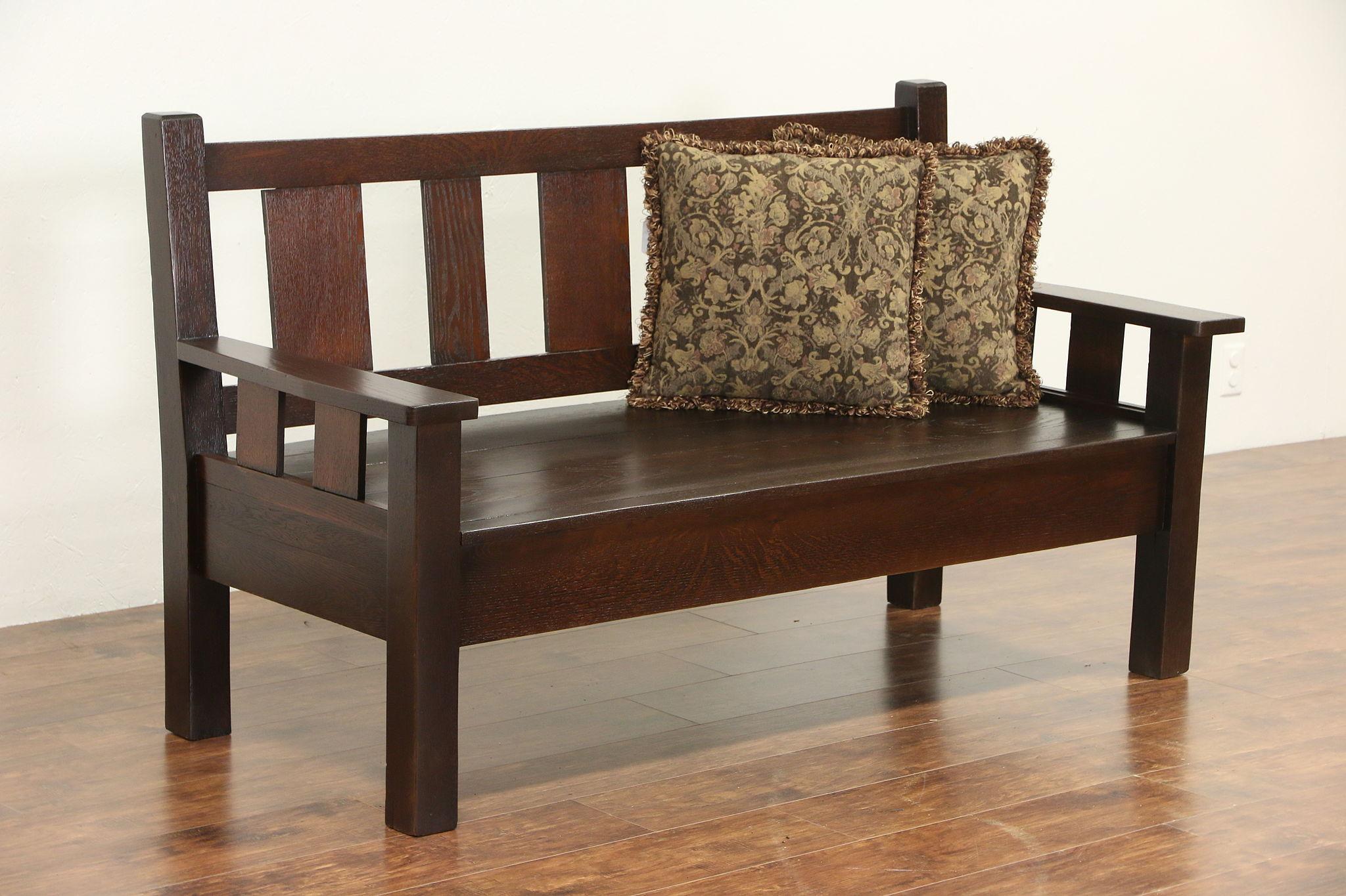 Sold Arts Amp Crafts Mission Oak 1905 Antique Bench Or