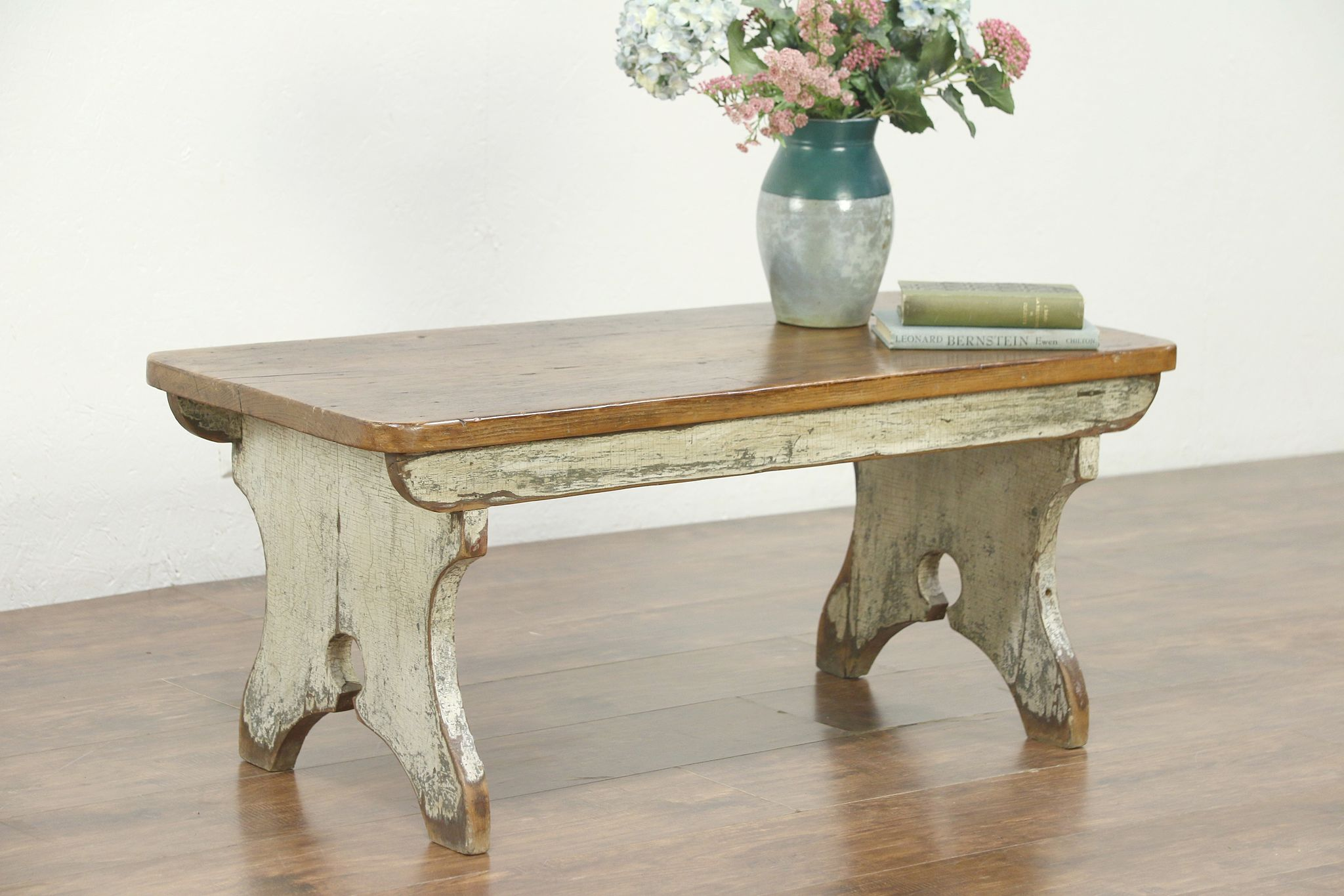 Sold Country Pine Antique Bench Or Coffee Table Worn