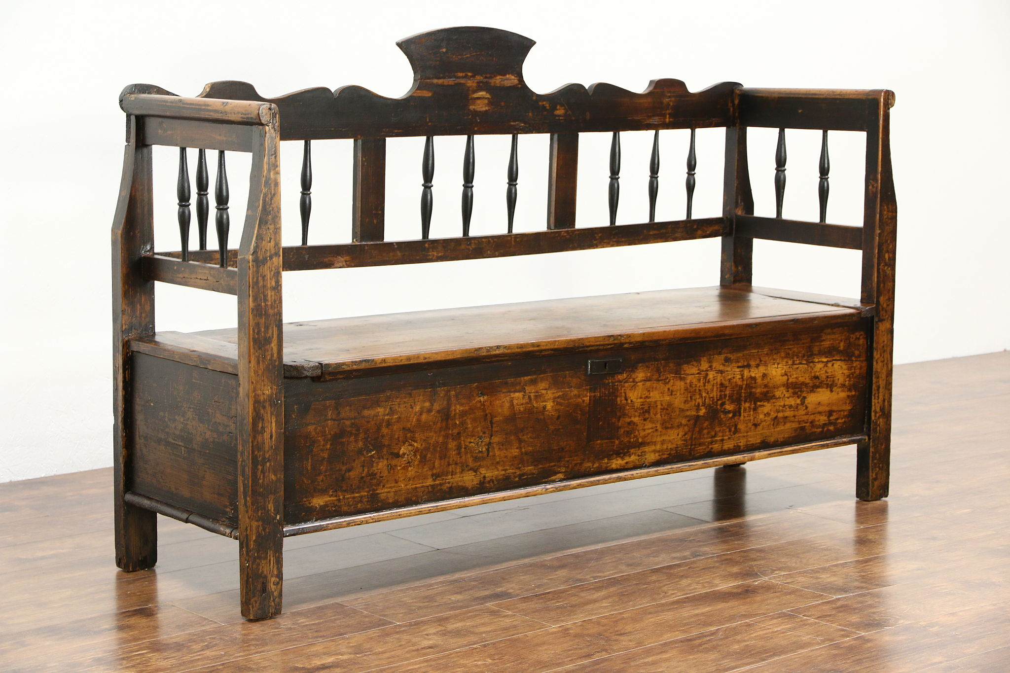 Antique Pine Storage Bench Benches