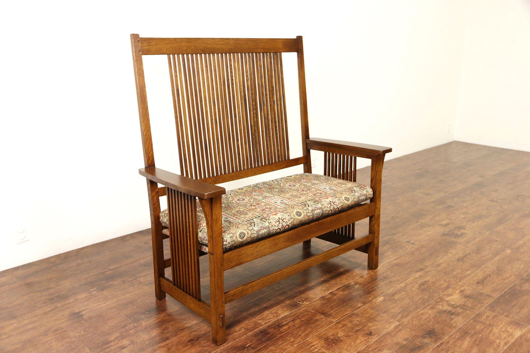 Sold Stickley Signed Craftsman Oak Vintage Hall Bench Or