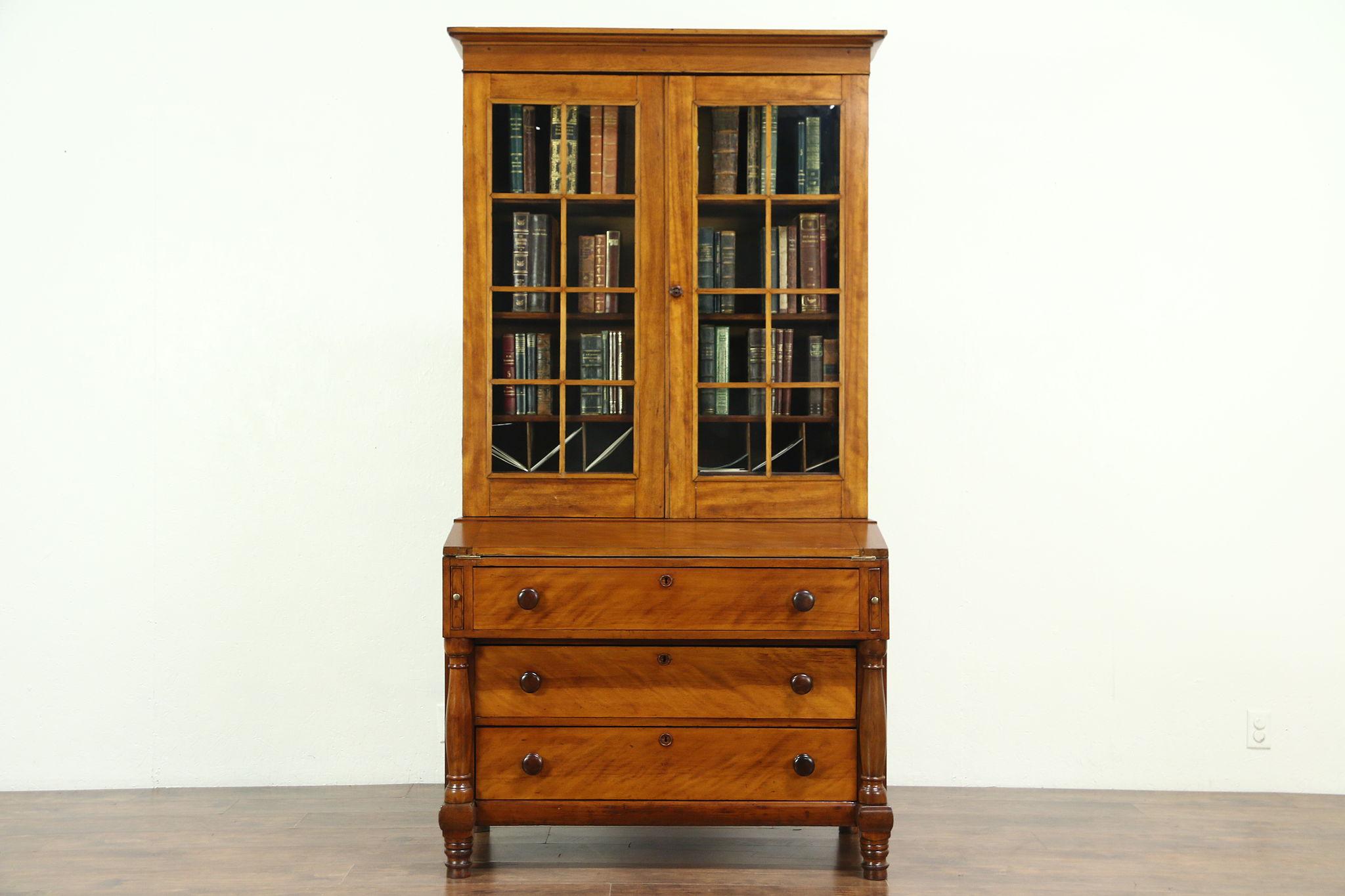 Sold Secretary Desk Wavy Glass Bookcase Curly Birch 1825