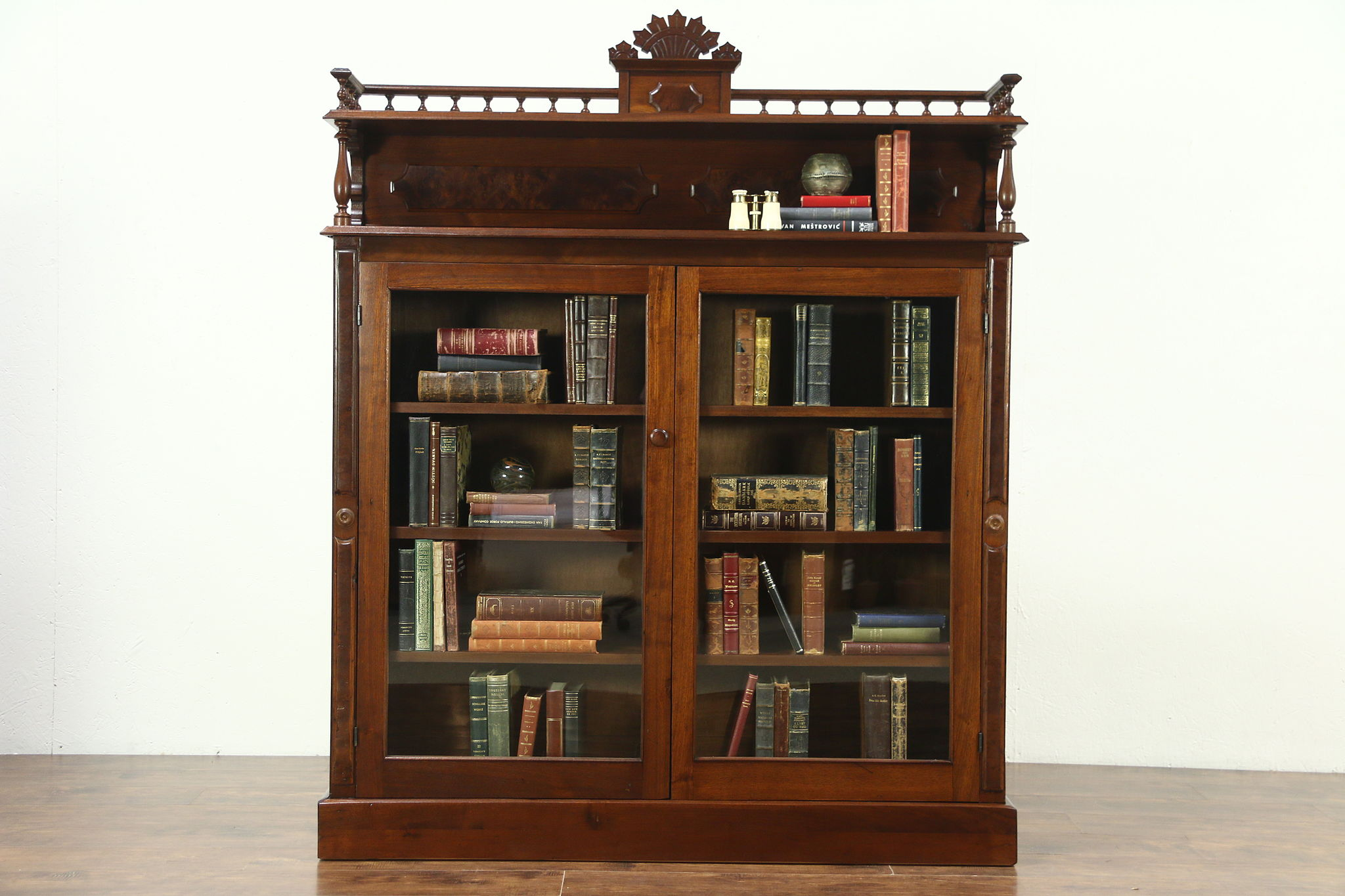 Victorian 1880 Antique Walnut Library Bookcase Adjule Shelves