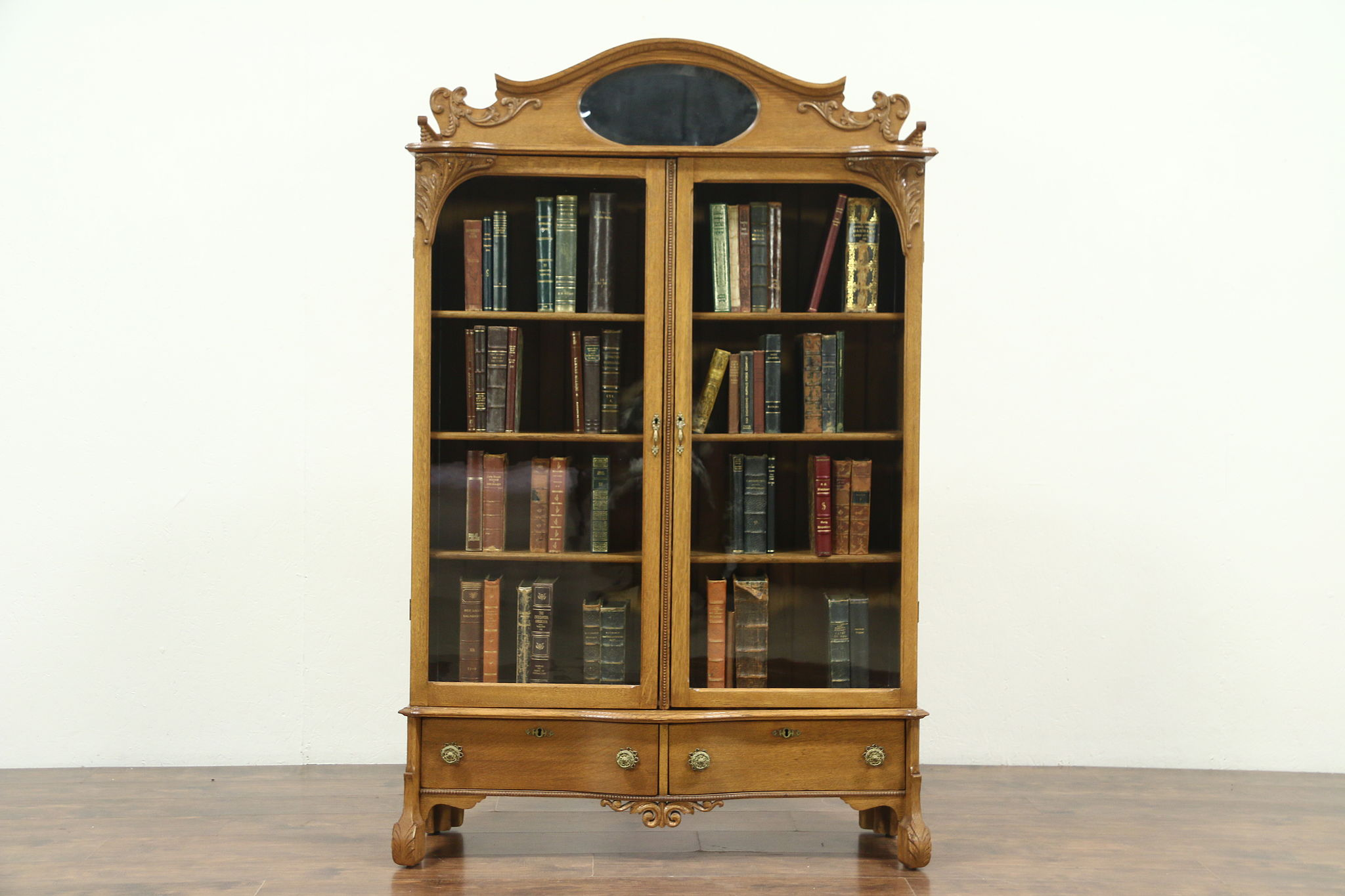 Victorian Oak 1900 Antique Carved Library Bookcase Wavy Glass Doors