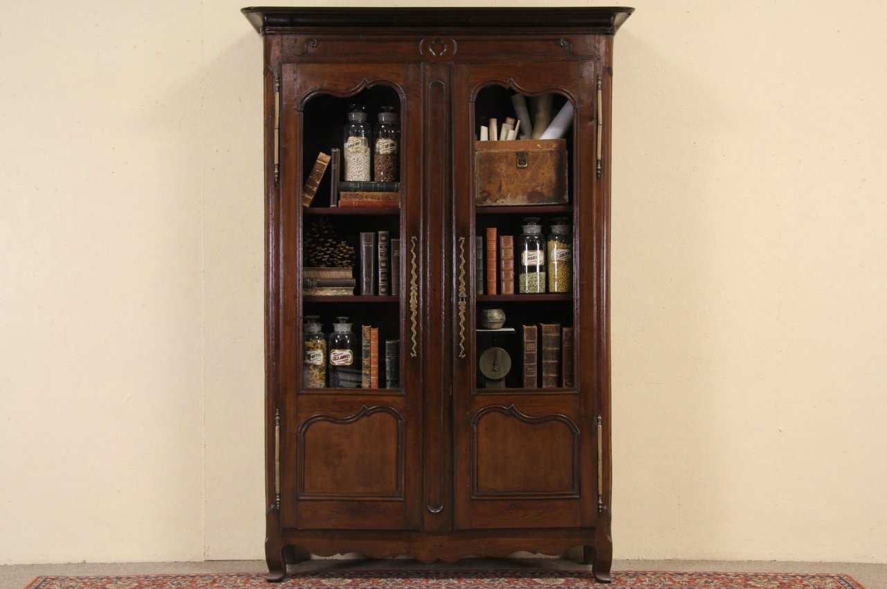 Country French Provincial 1780 Antique Oak Bookcase Or China Display Cabinet